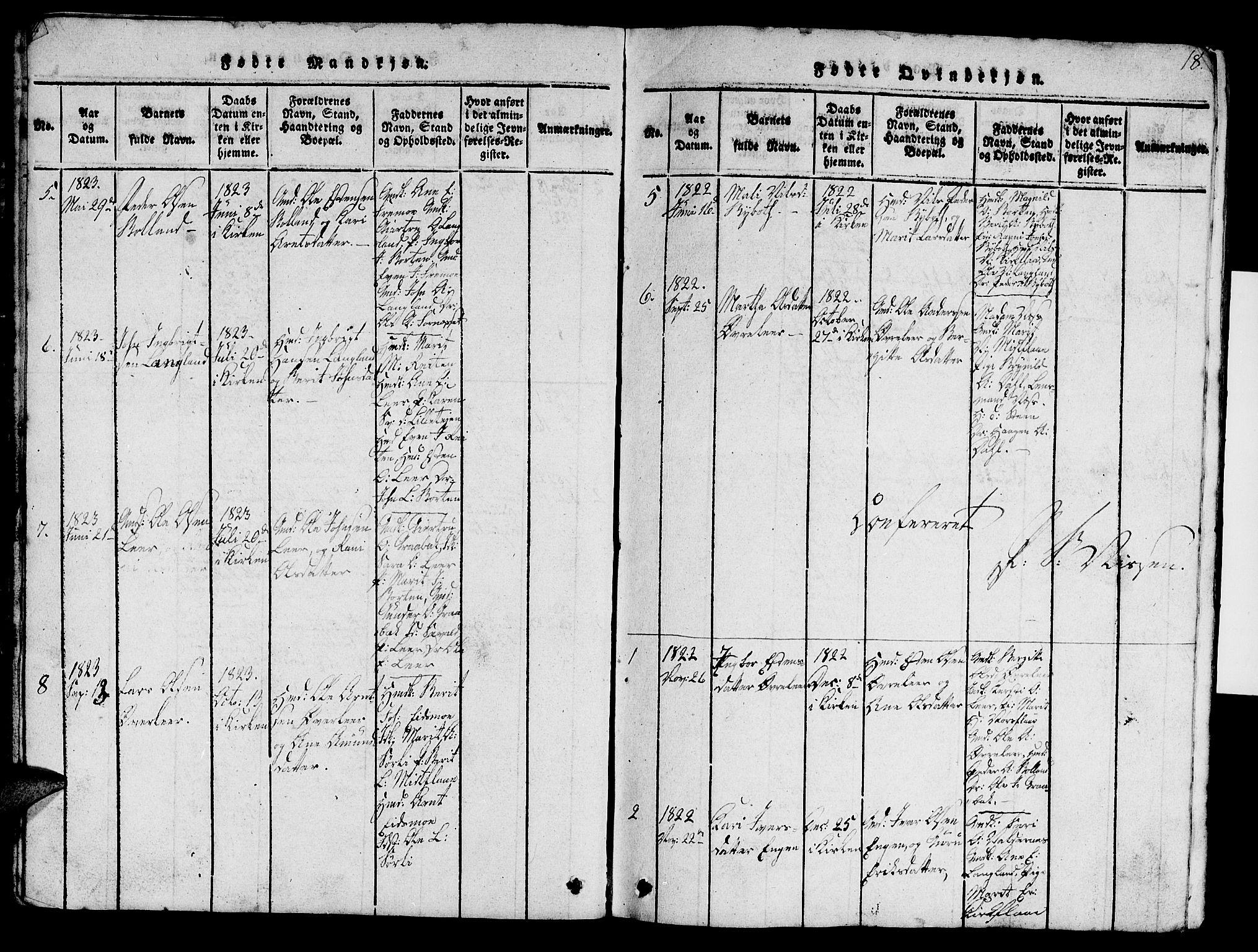 SAT, Ministerialprotokoller, klokkerbøker og fødselsregistre - Sør-Trøndelag, 693/L1121: Klokkerbok nr. 693C02, 1816-1869, s. 18