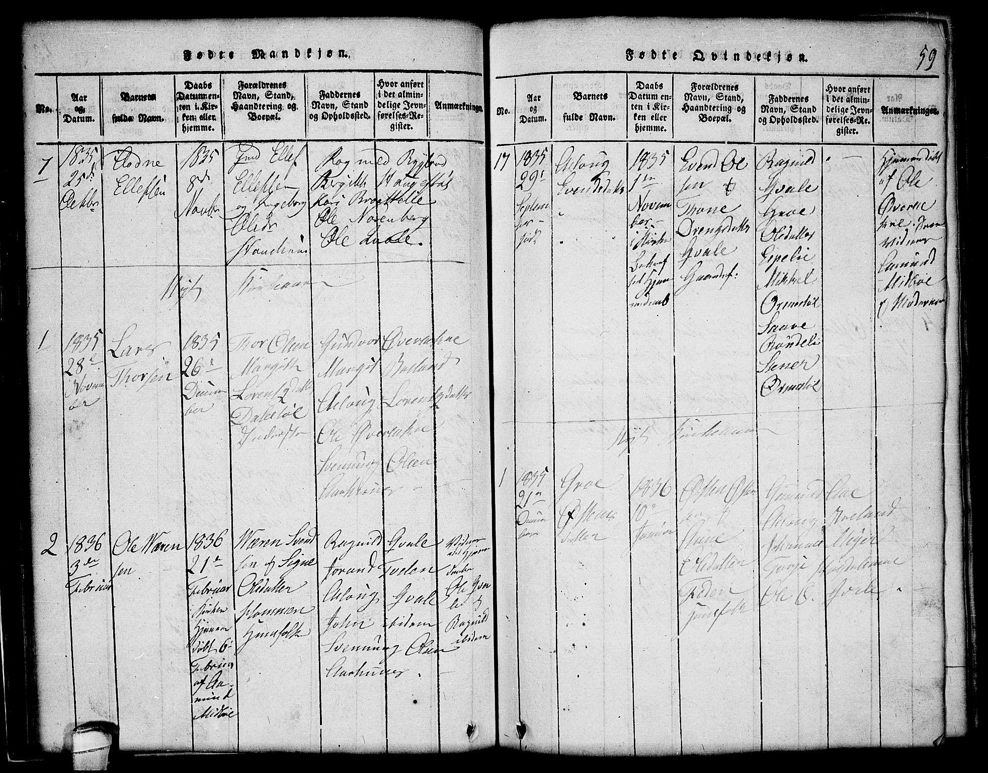 SAKO, Lårdal kirkebøker, G/Gc/L0001: Klokkerbok nr. III 1, 1815-1854, s. 59