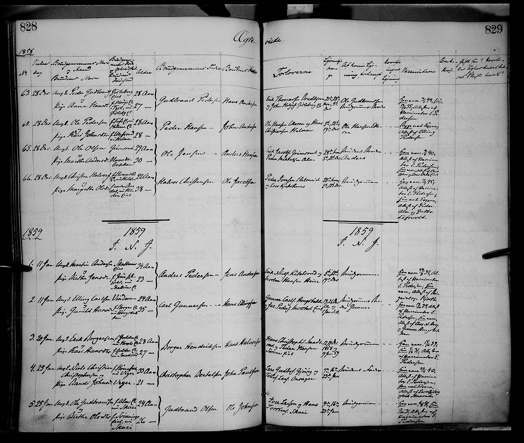 SAH, Gran prestekontor, Ministerialbok nr. 12, 1856-1874, s. 828-829