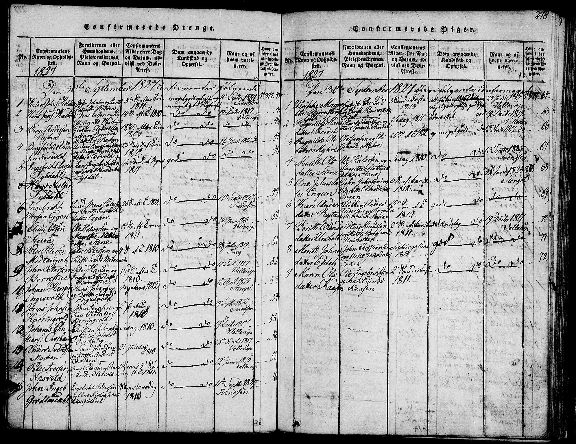SAT, Ministerialprotokoller, klokkerbøker og fødselsregistre - Sør-Trøndelag, 685/L0956: Ministerialbok nr. 685A03 /3, 1817-1829, s. 278