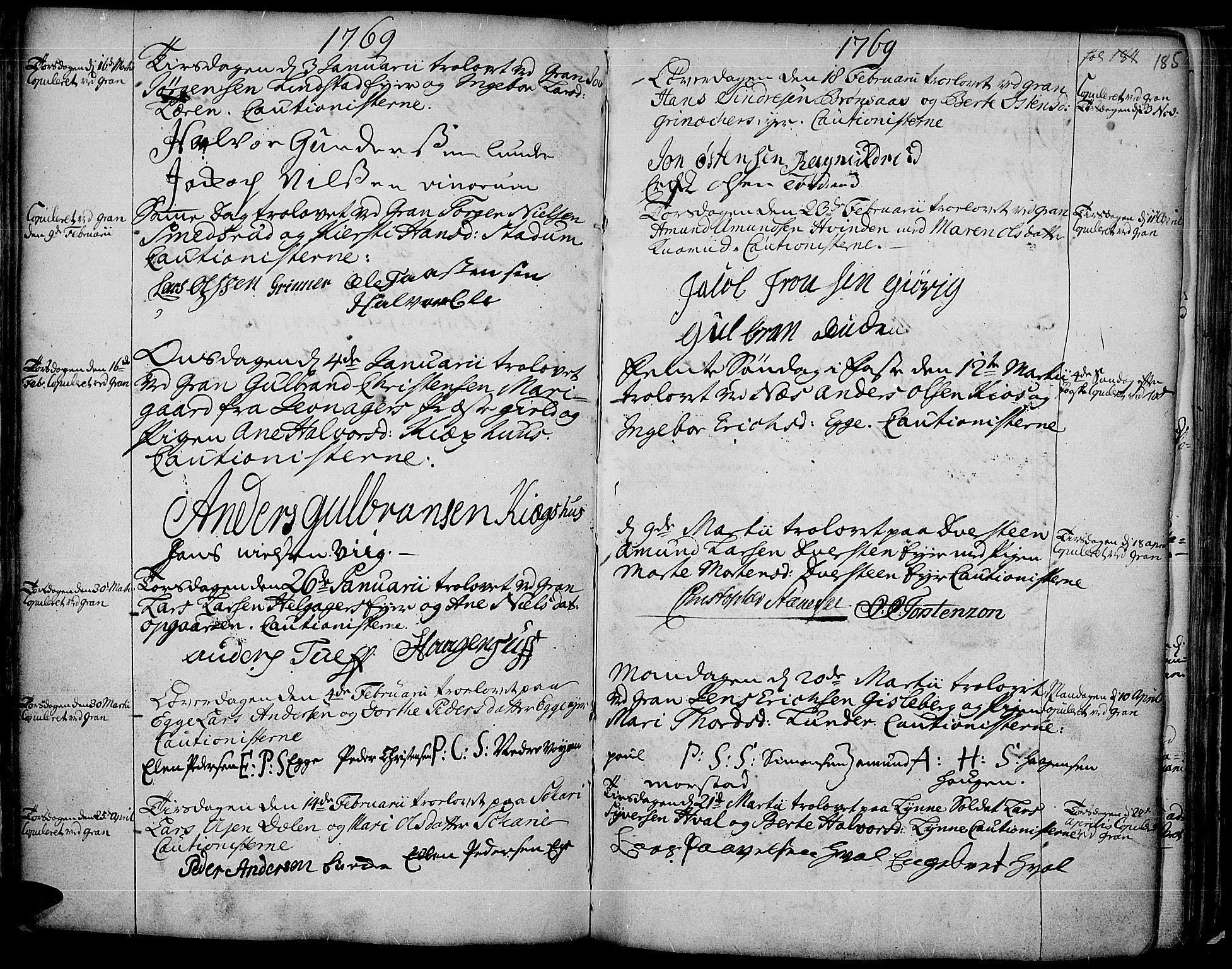 SAH, Gran prestekontor, Ministerialbok nr. 4, 1759-1775, s. 185