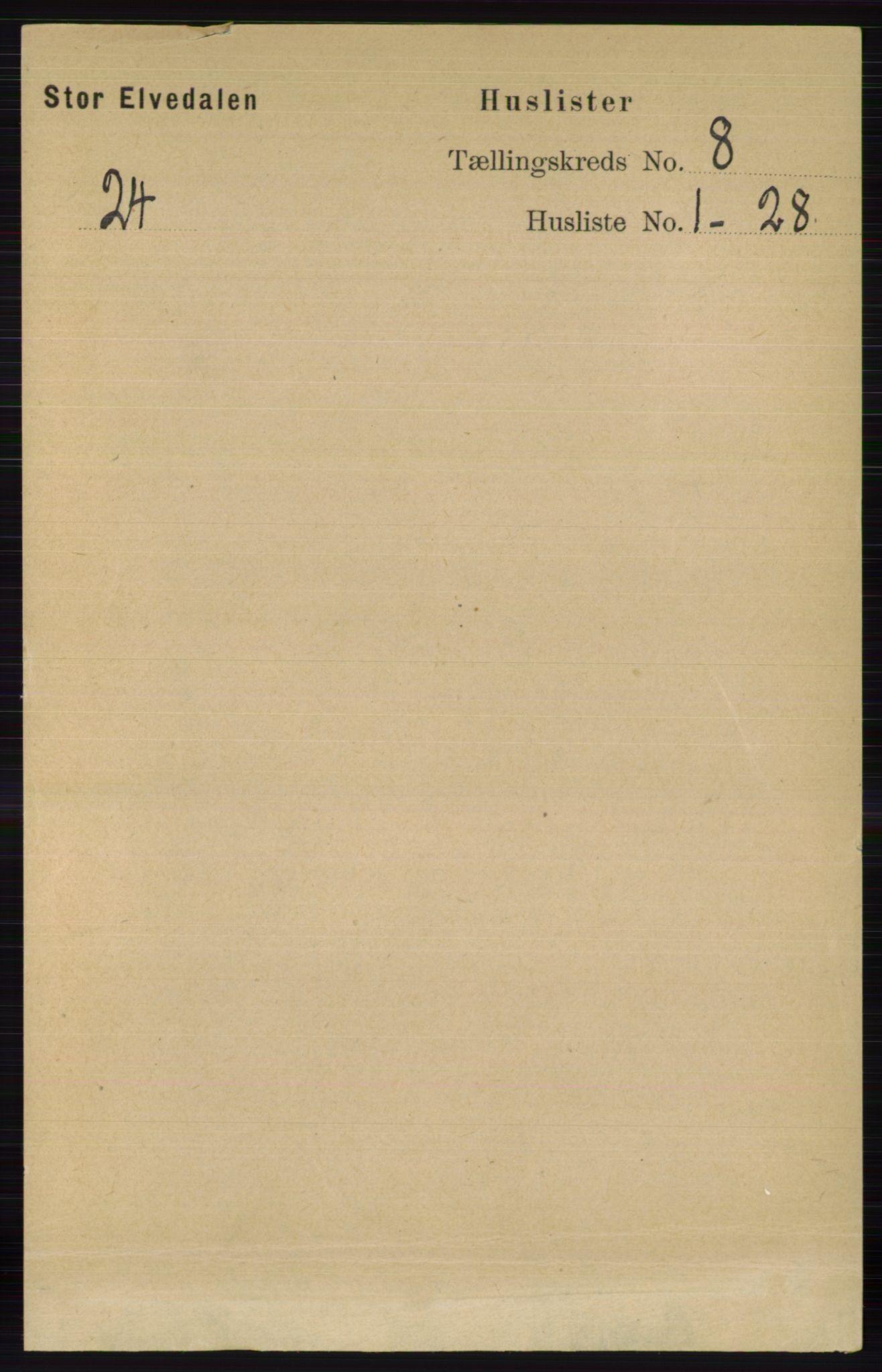 RA, Folketelling 1891 for 0430 Stor-Elvdal herred, 1891, s. 3412