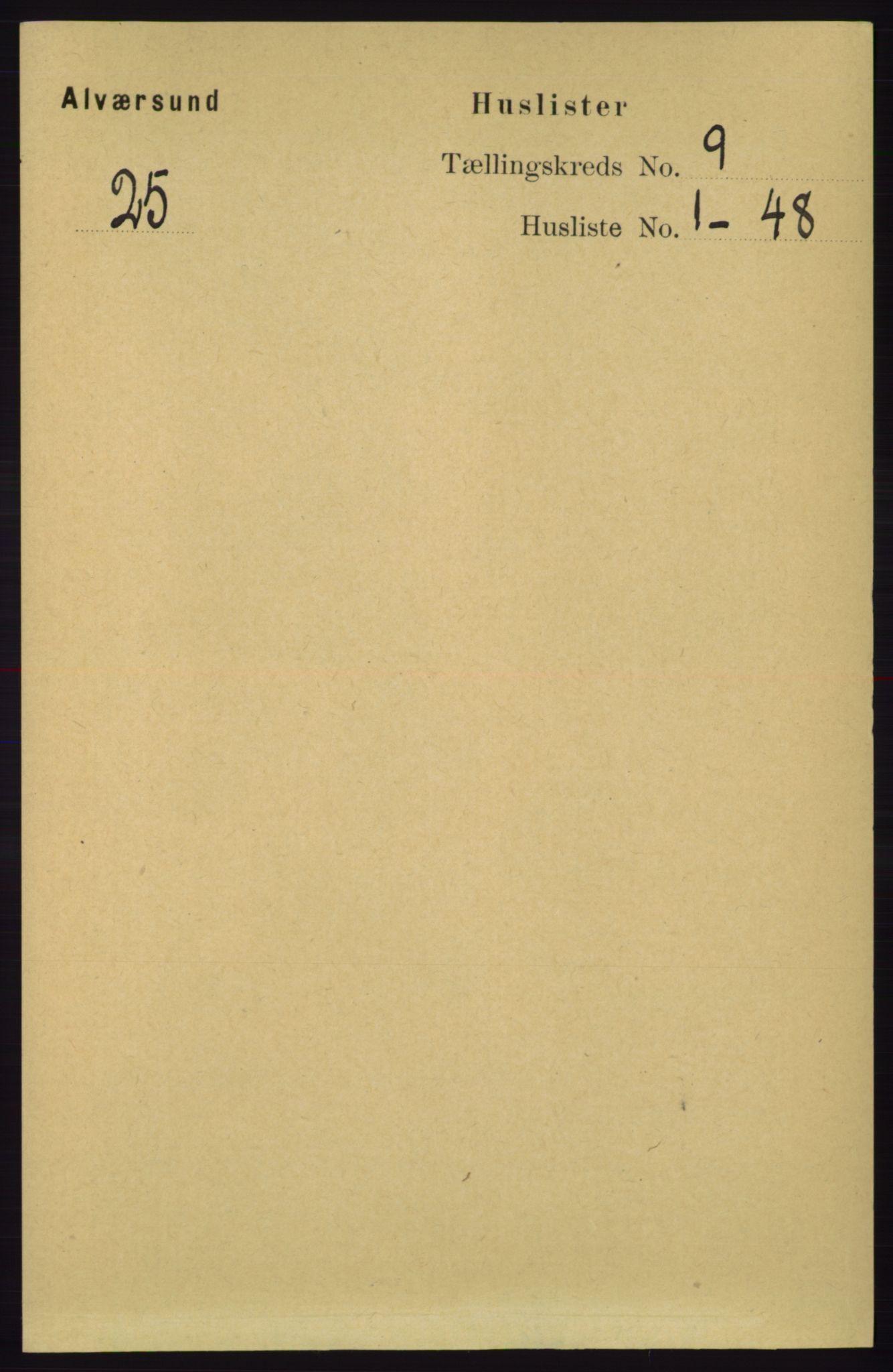RA, Folketelling 1891 for 1257 Alversund herred, 1891, s. 3036