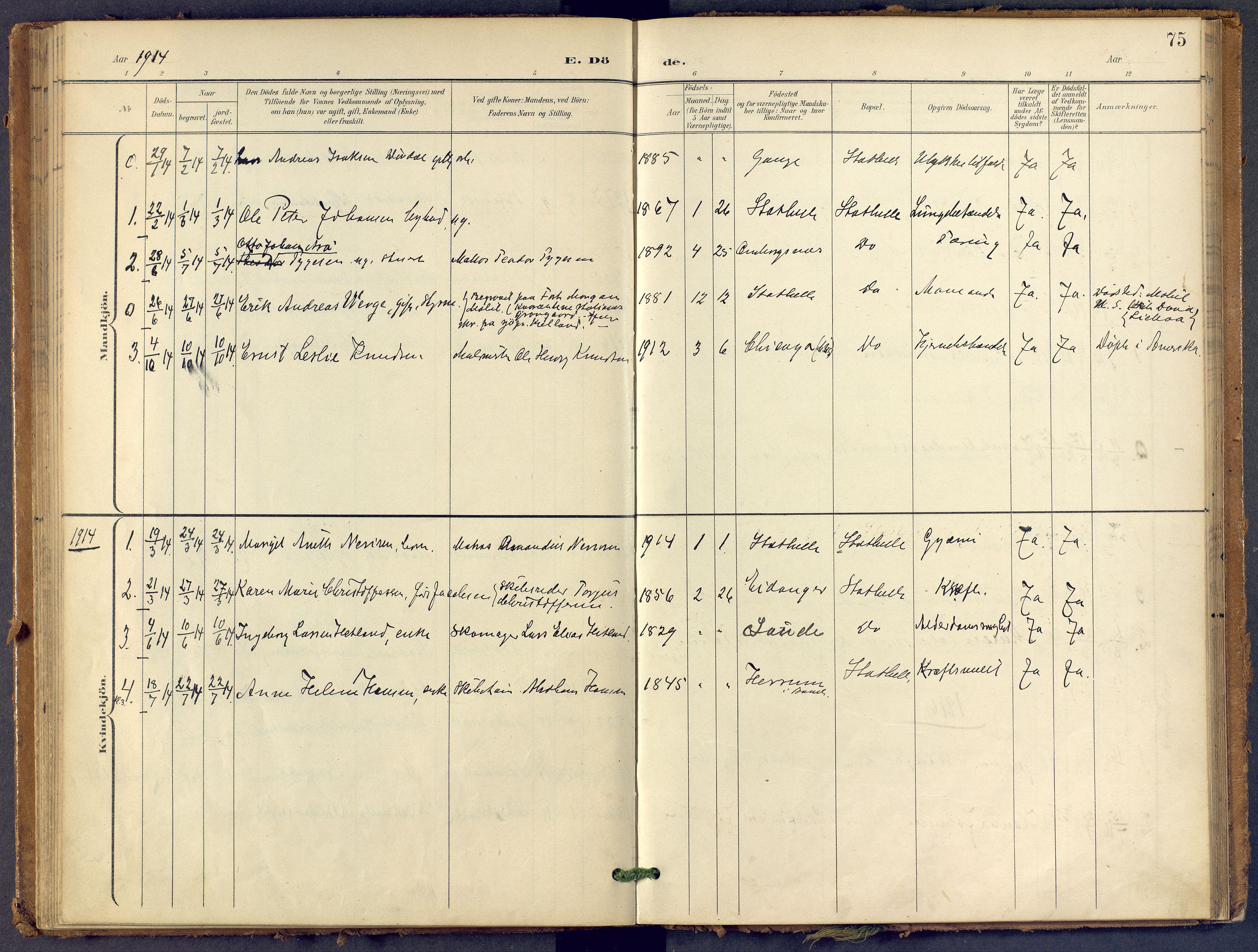 SAKO, Bamble kirkebøker, F/Fb/L0002: Ministerialbok nr. II 2, 1900-1921, s. 75