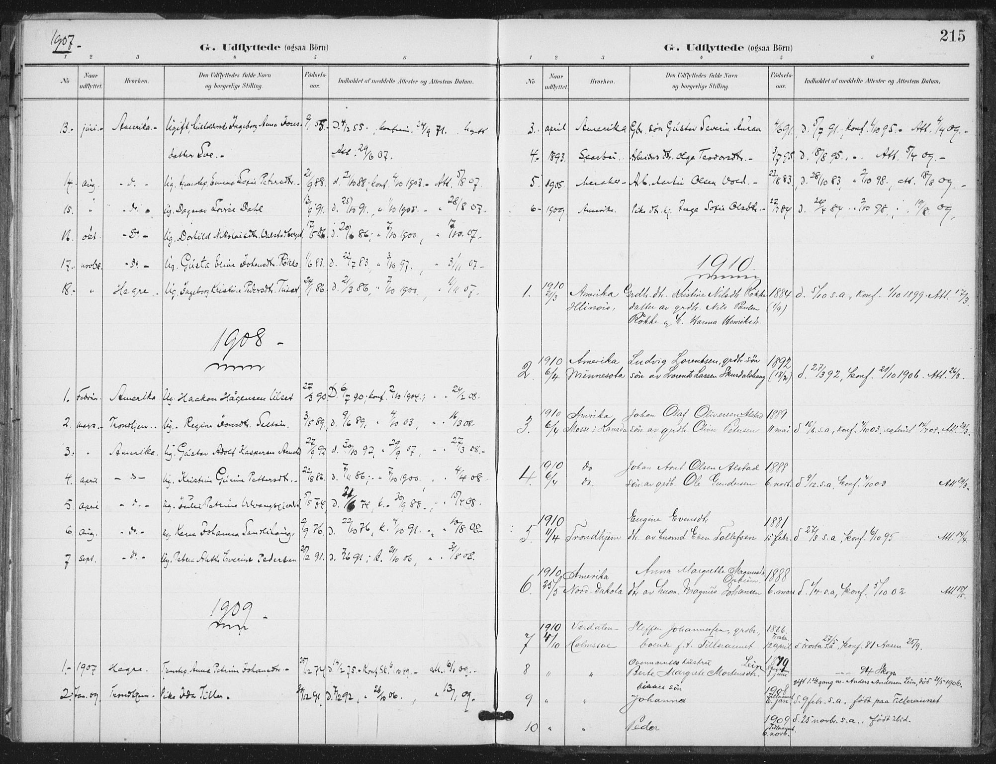 SAT, Ministerialprotokoller, klokkerbøker og fødselsregistre - Nord-Trøndelag, 712/L0101: Ministerialbok nr. 712A02, 1901-1916, s. 215