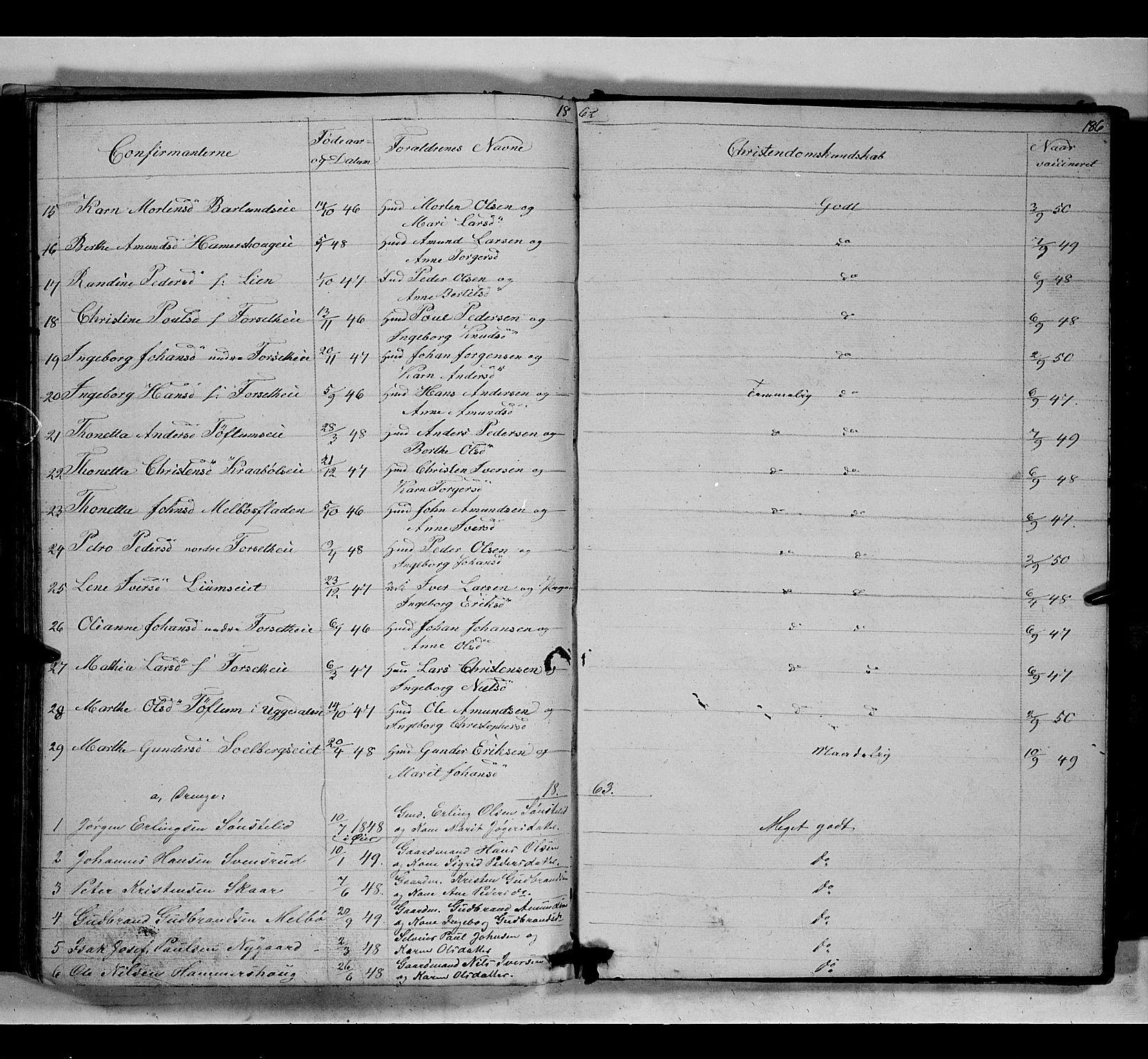 SAH, Gausdal prestekontor, Klokkerbok nr. 5, 1846-1867, s. 186