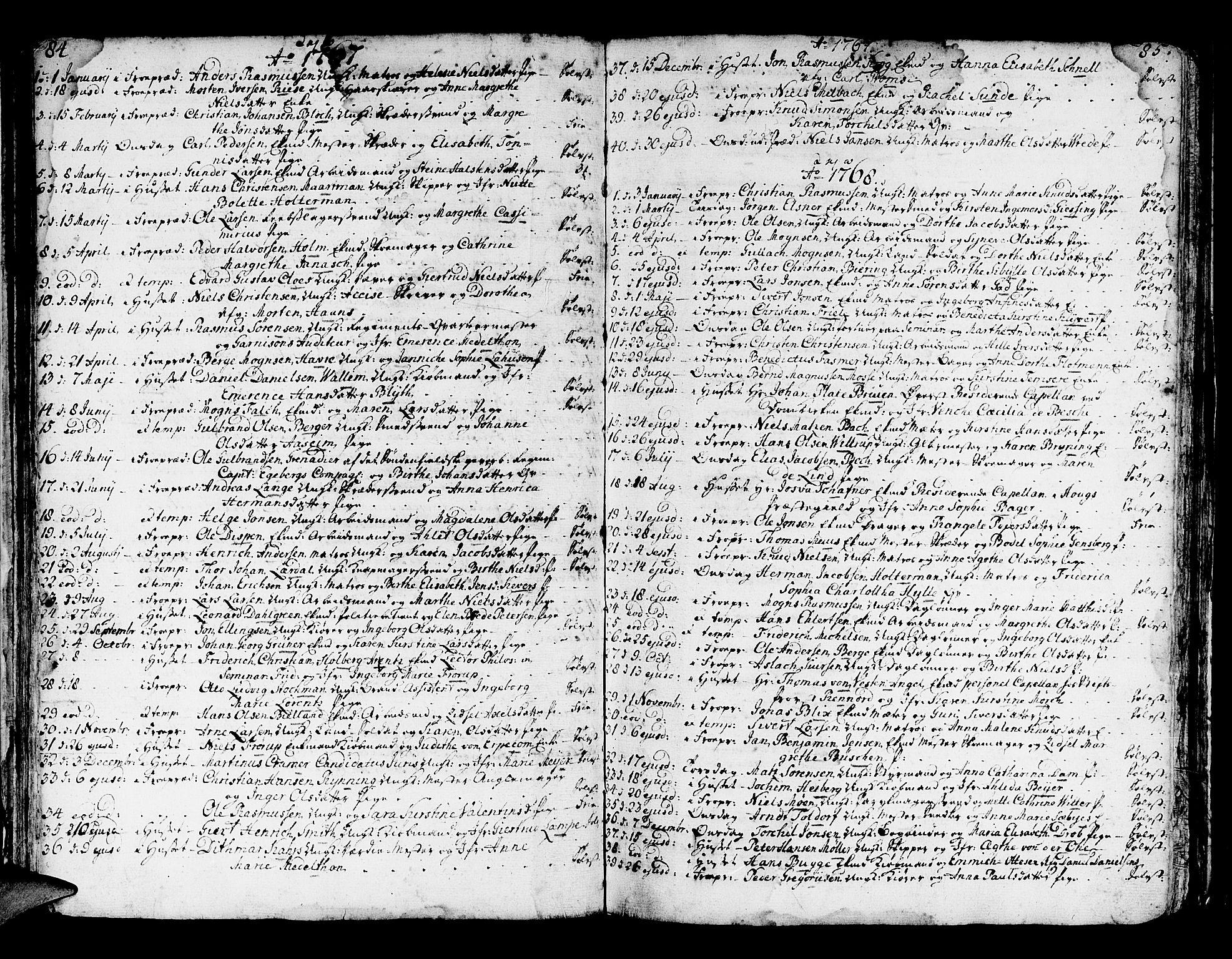 SAB, Domkirken Sokneprestembete, H/Haa/L0007: Ministerialbok nr. A 7, 1725-1826, s. 84-85