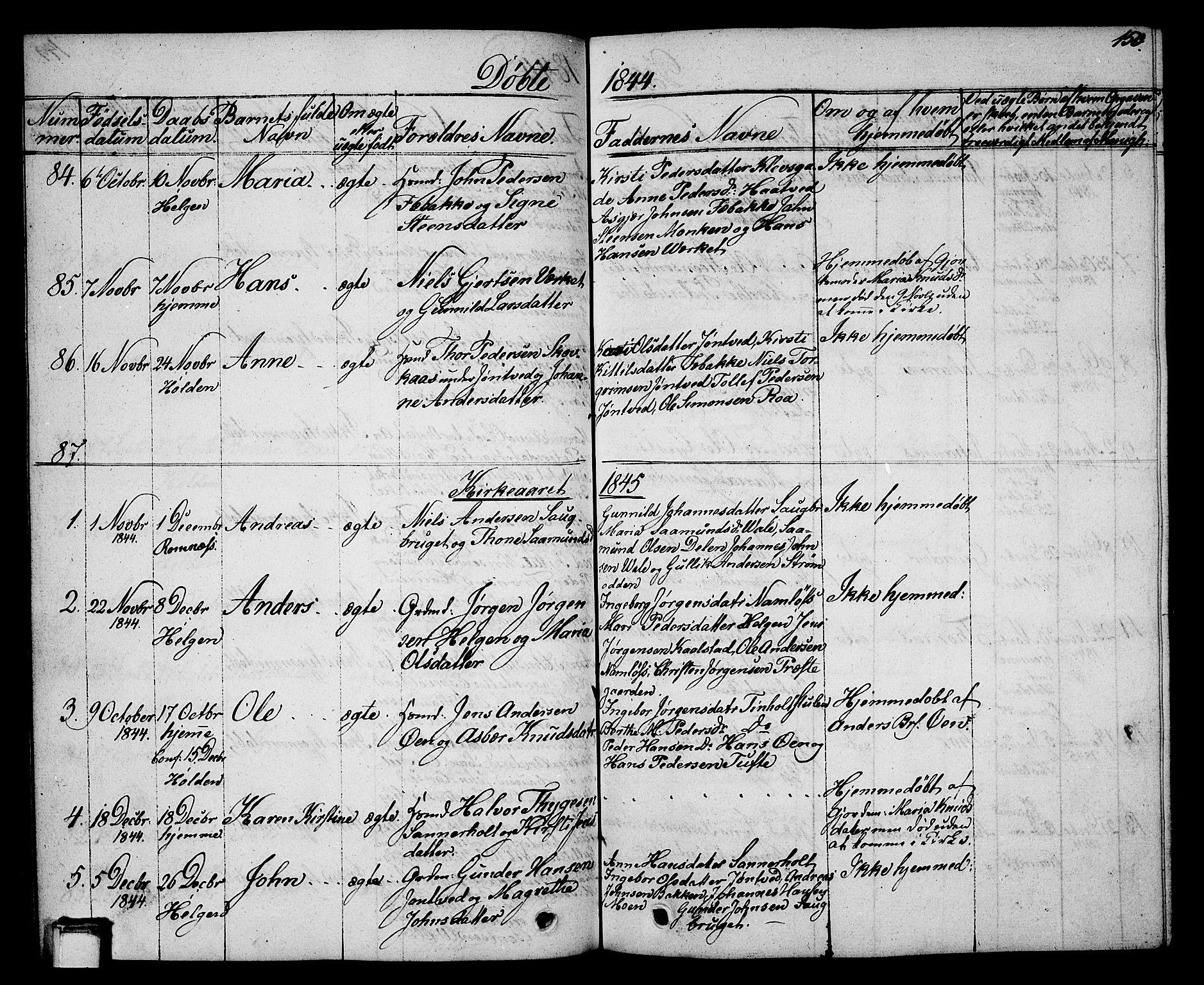 SAKO, Holla kirkebøker, G/Ga/L0002: Klokkerbok nr. I 2, 1830-1848, s. 150