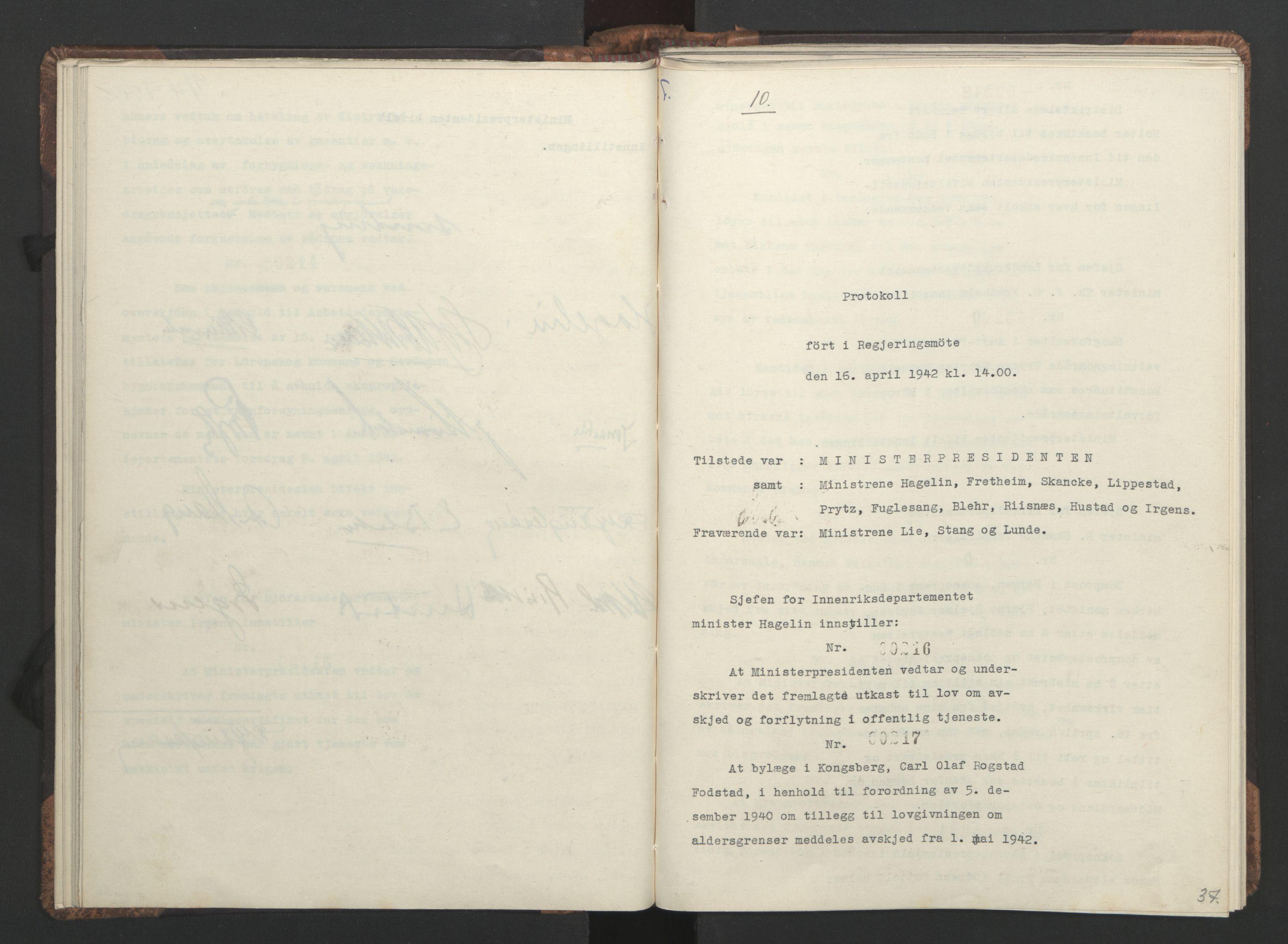 RA, NS-administrasjonen 1940-1945 (Statsrådsekretariatet, de kommisariske statsråder mm), D/Da/L0001: Beslutninger og tillegg (1-952 og 1-32), 1942, s. 36b-37a