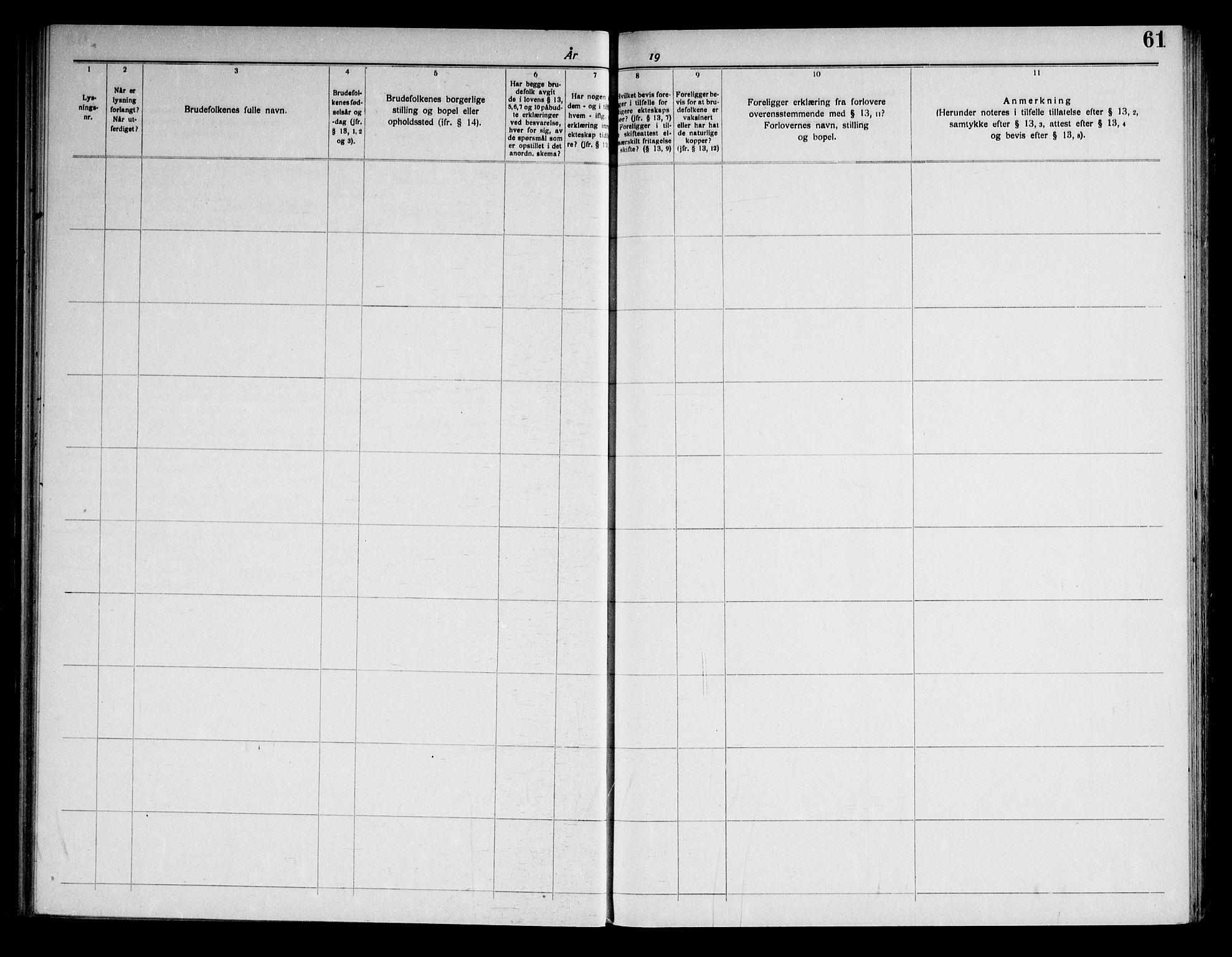 SAKO, Fyresdal kirkebøker, H/Ha/L0001: Lysningsprotokoll nr. 1, 1919-1969, s. 61