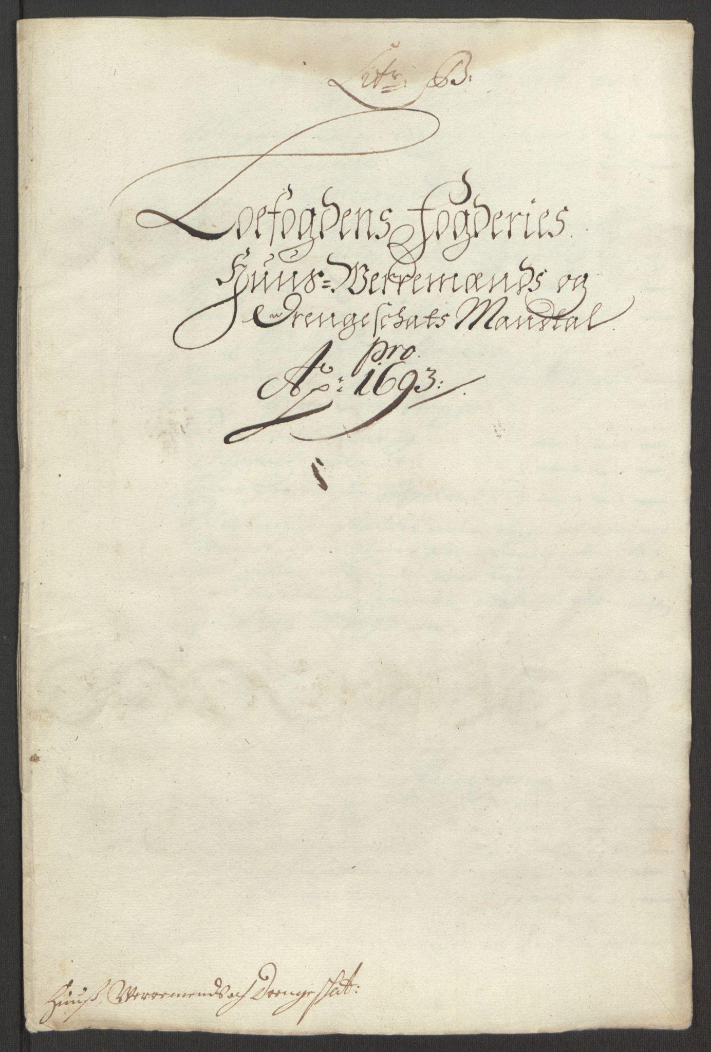 RA, Rentekammeret inntil 1814, Reviderte regnskaper, Fogderegnskap, R67/L4675: Fogderegnskap Vesterålen, Andenes og Lofoten, 1691-1693, s. 248