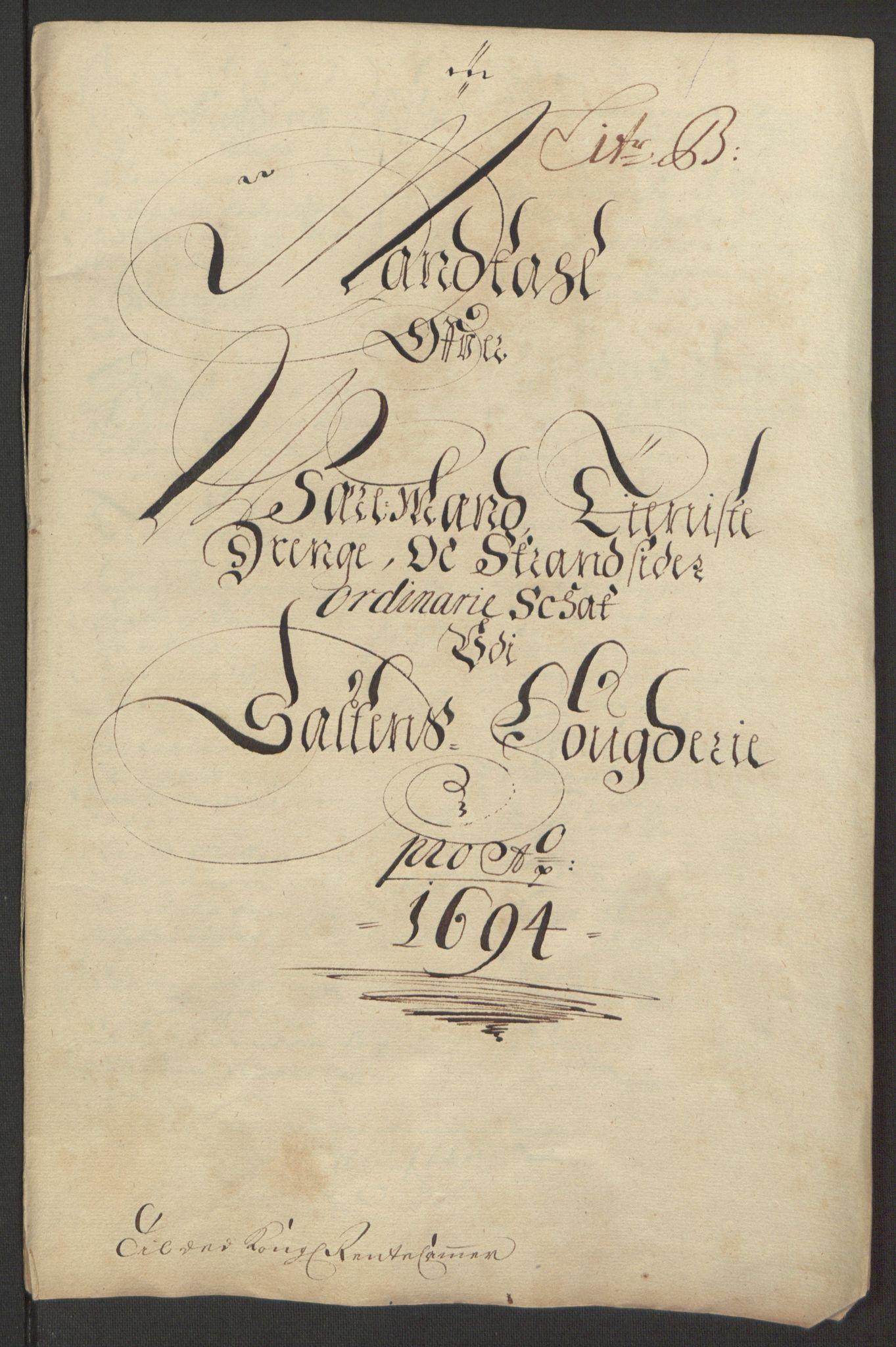 RA, Rentekammeret inntil 1814, Reviderte regnskaper, Fogderegnskap, R66/L4578: Fogderegnskap Salten, 1694-1696, s. 45