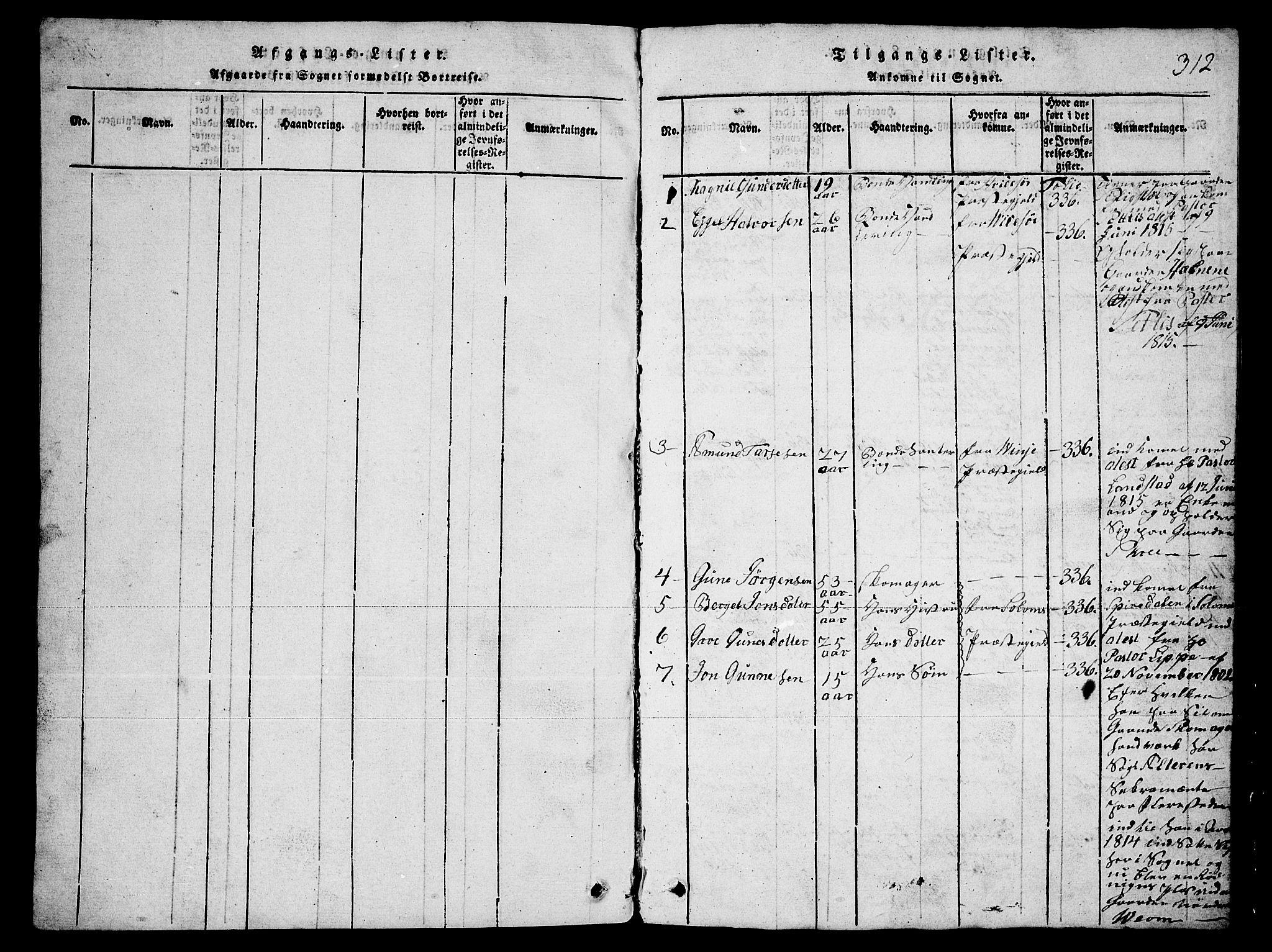 SAKO, Fyresdal kirkebøker, G/Ga/L0003: Klokkerbok nr. I 3, 1815-1863, s. 312