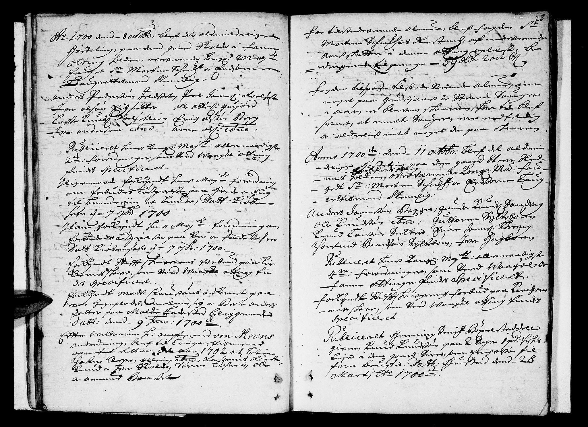 SAT, Romsdal sorenskriveri, 1/1A/L0004: Tingbok, 1700-1705, s. 22b-23a