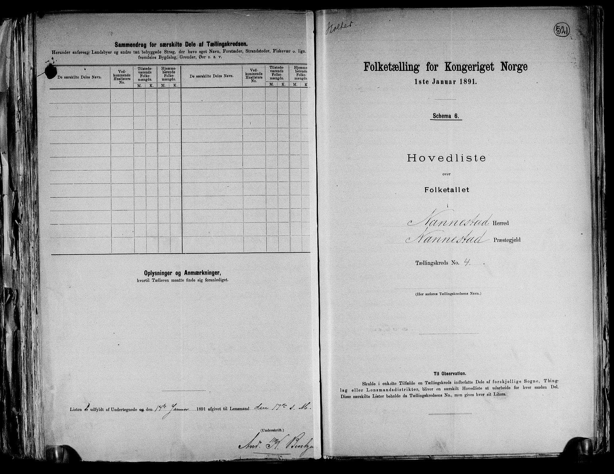 RA, Folketelling 1891 for 0238 Nannestad herred, 1891, s. 15