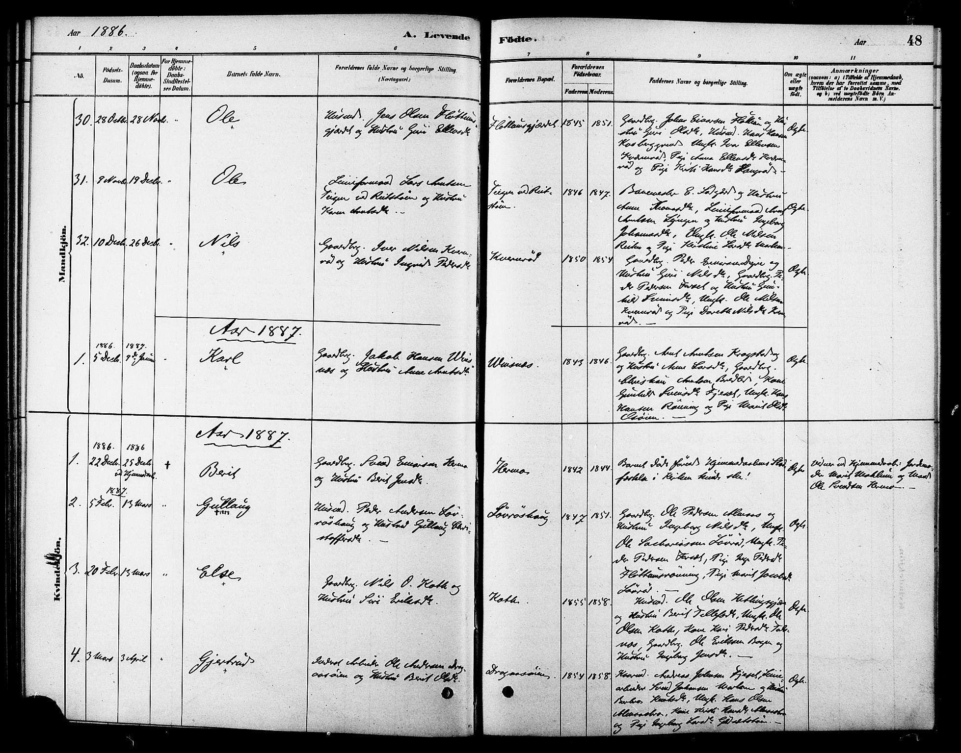 SAT, Ministerialprotokoller, klokkerbøker og fødselsregistre - Sør-Trøndelag, 688/L1024: Ministerialbok nr. 688A01, 1879-1890, s. 48