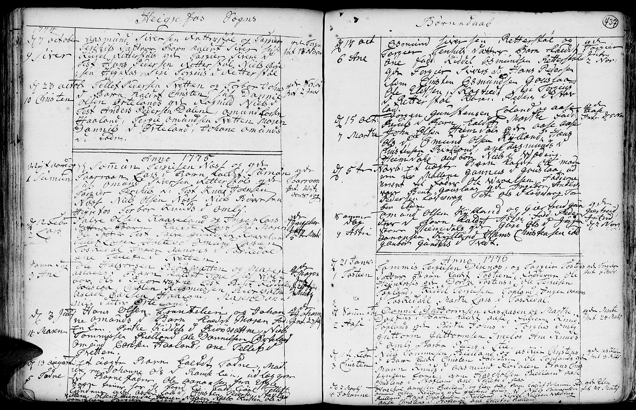 SAK, Hommedal sokneprestkontor, F/Fa/Fab/L0002: Ministerialbok nr. A 2 /3, 1740-1821, s. 437