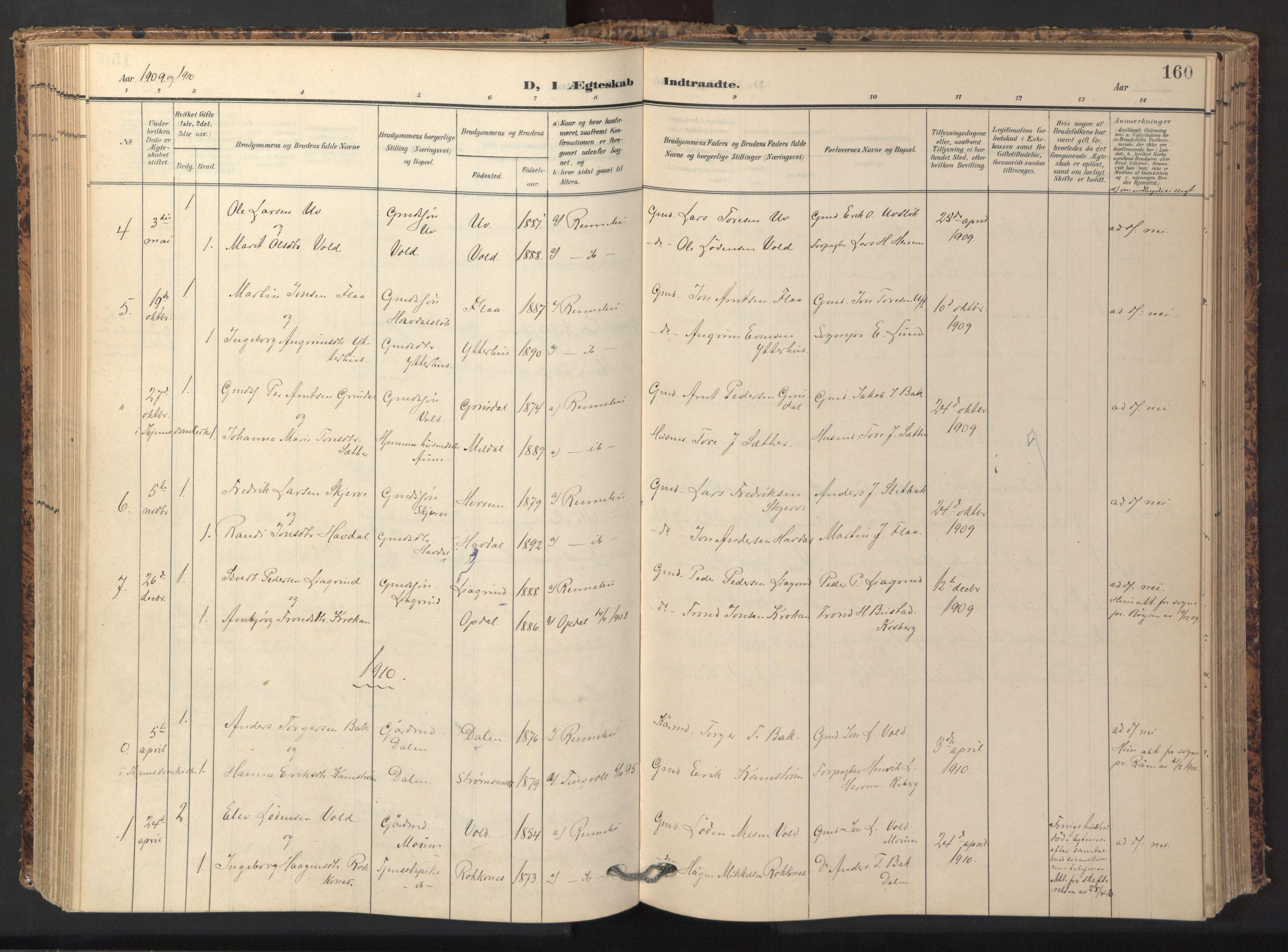 SAT, Ministerialprotokoller, klokkerbøker og fødselsregistre - Sør-Trøndelag, 674/L0873: Ministerialbok nr. 674A05, 1908-1923, s. 160
