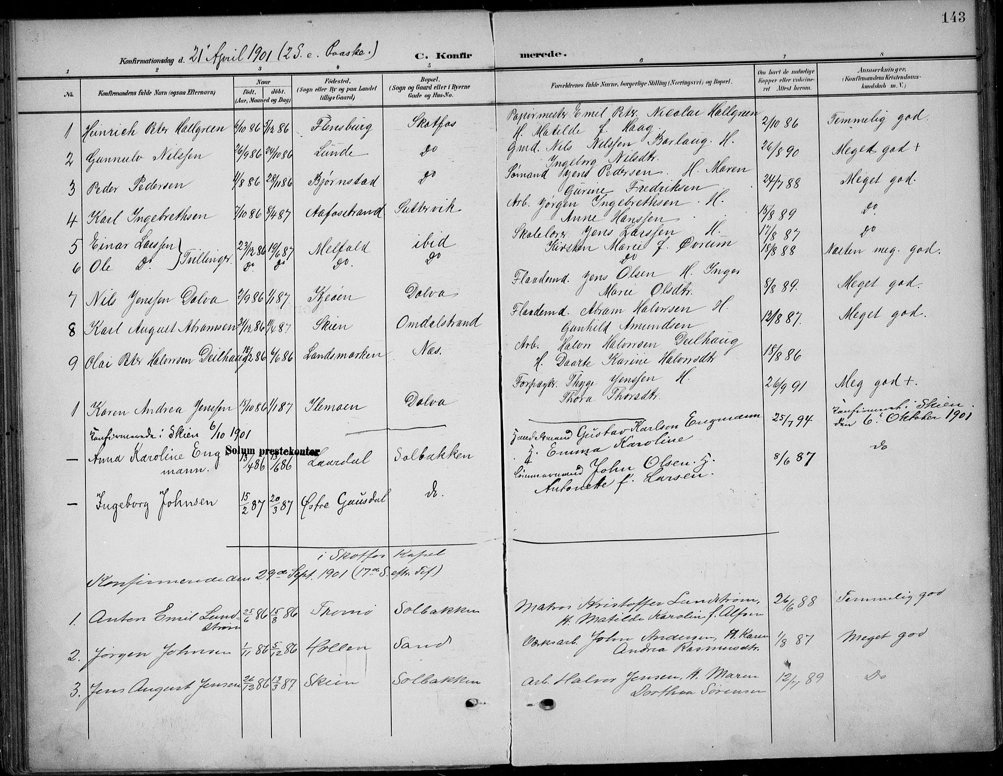SAKO, Solum kirkebøker, F/Fb/L0003: Ministerialbok nr. II 3, 1901-1912, s. 143