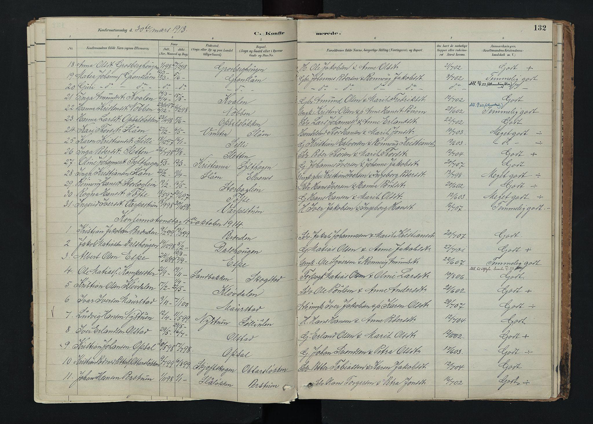 SAH, Nord-Fron prestekontor, Ministerialbok nr. 5, 1884-1914, s. 132