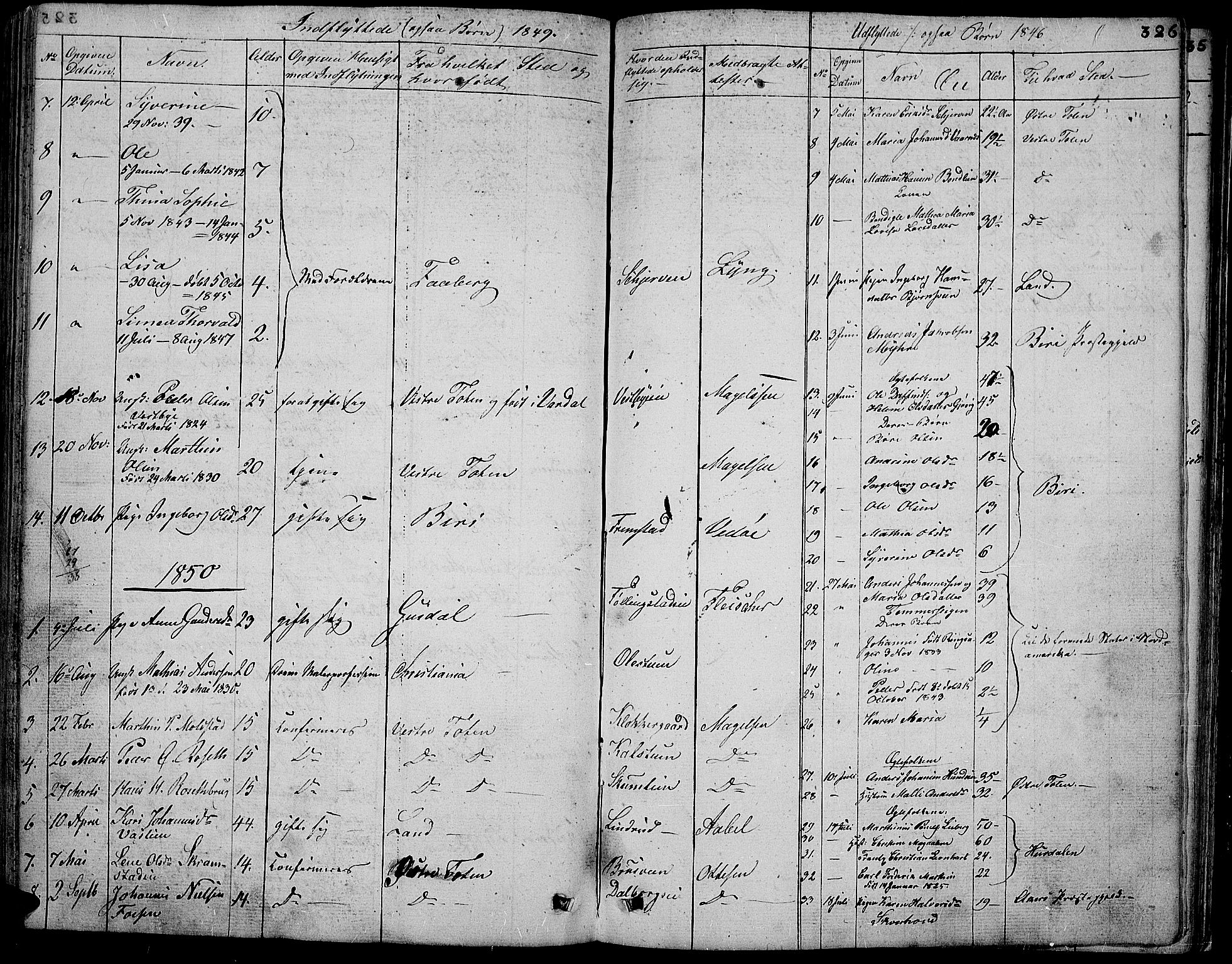 SAH, Vardal prestekontor, H/Ha/Hab/L0004: Klokkerbok nr. 4, 1831-1853, s. 326