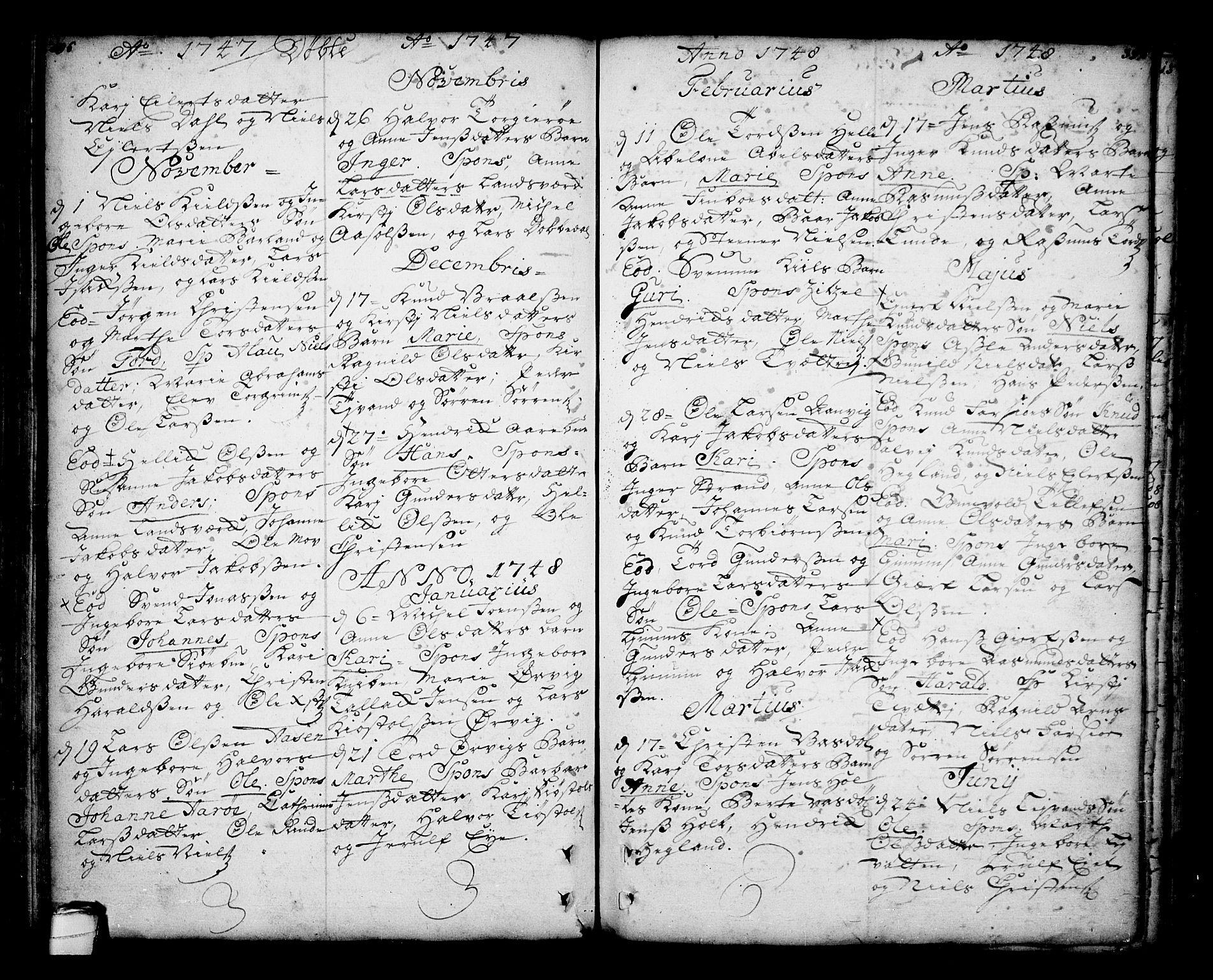 SAKO, Sannidal kirkebøker, F/Fa/L0001: Ministerialbok nr. 1, 1702-1766, s. 196-197