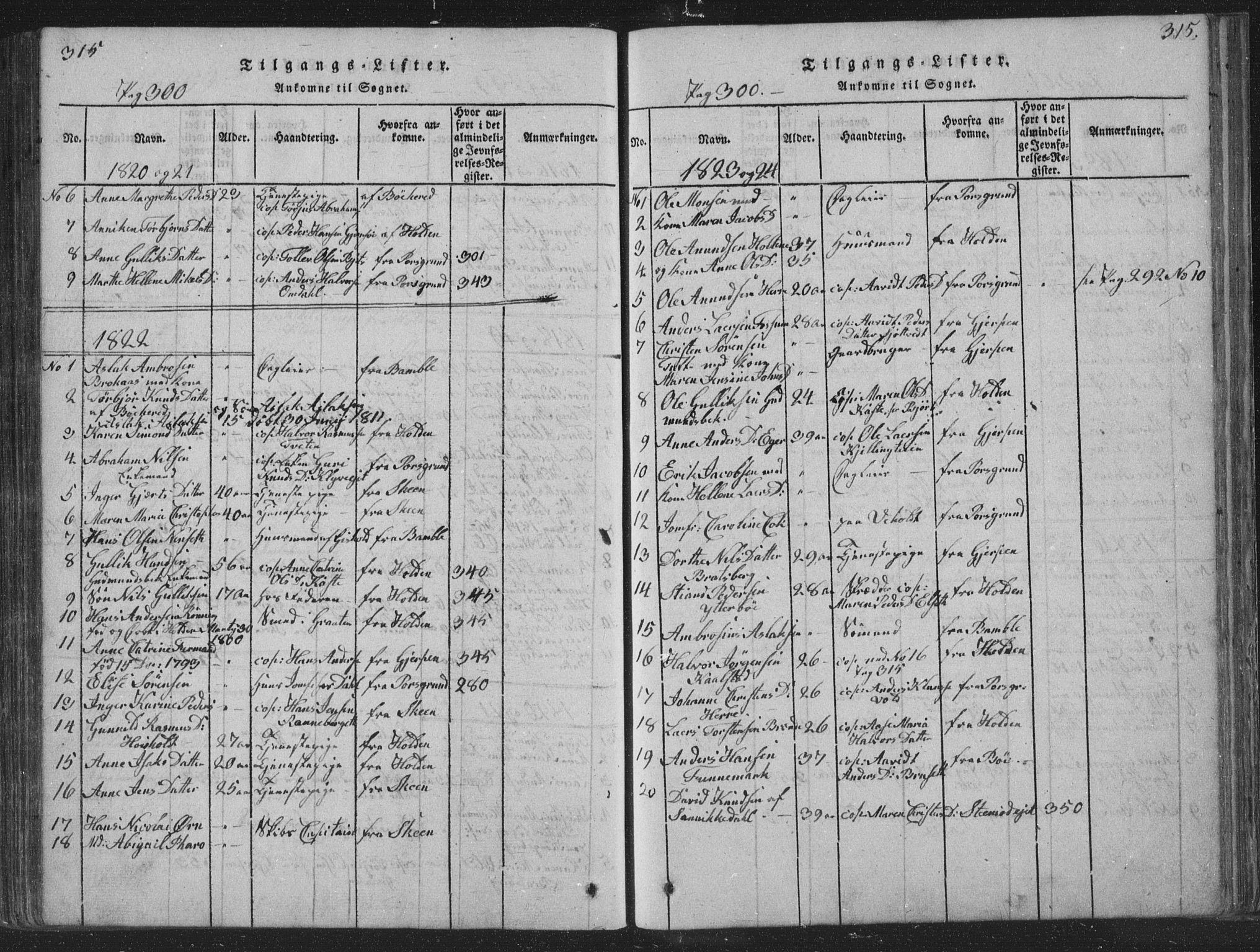 SAKO, Solum kirkebøker, F/Fa/L0004: Ministerialbok nr. I 4, 1814-1833, s. 315