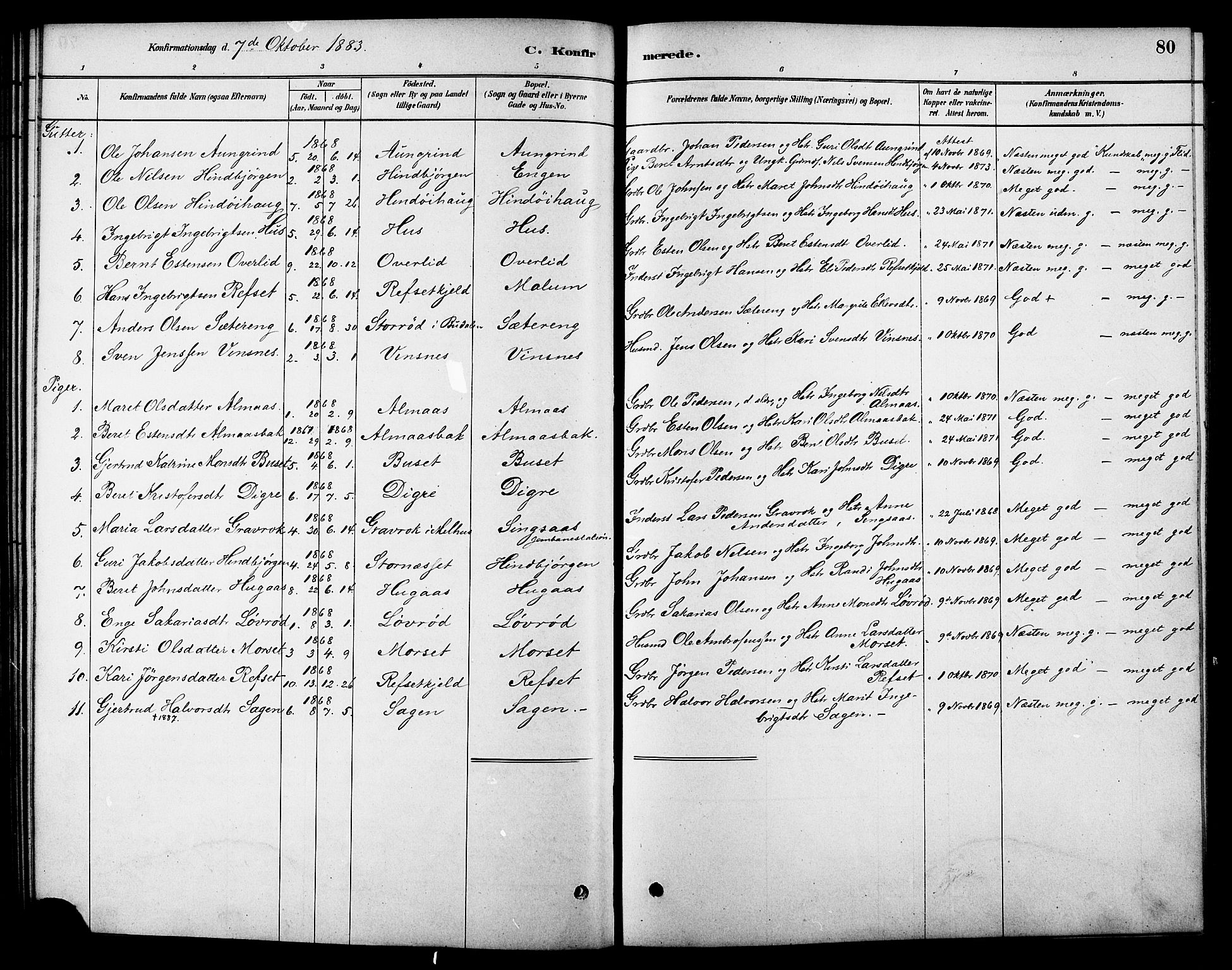 SAT, Ministerialprotokoller, klokkerbøker og fødselsregistre - Sør-Trøndelag, 688/L1024: Ministerialbok nr. 688A01, 1879-1890, s. 80