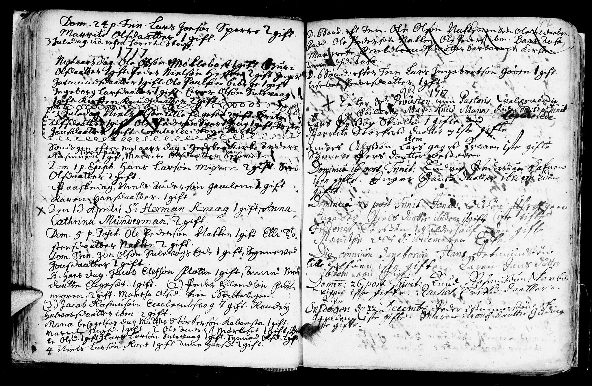 SAT, Ministerialprotokoller, klokkerbøker og fødselsregistre - Møre og Romsdal, 528/L0390: Ministerialbok nr. 528A01, 1698-1739, s. 96-97
