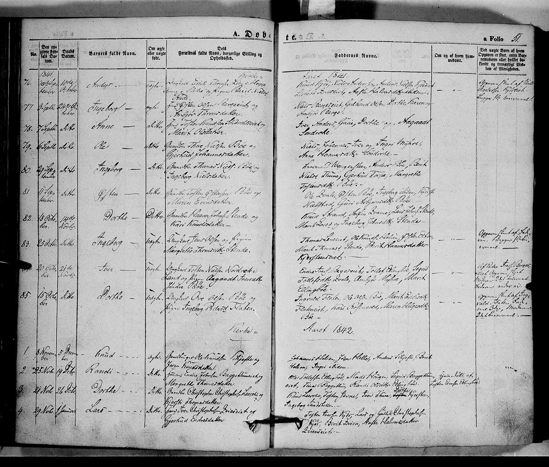 SAH, Vang prestekontor, Valdres, Ministerialbok nr. 5, 1831-1845, s. 51