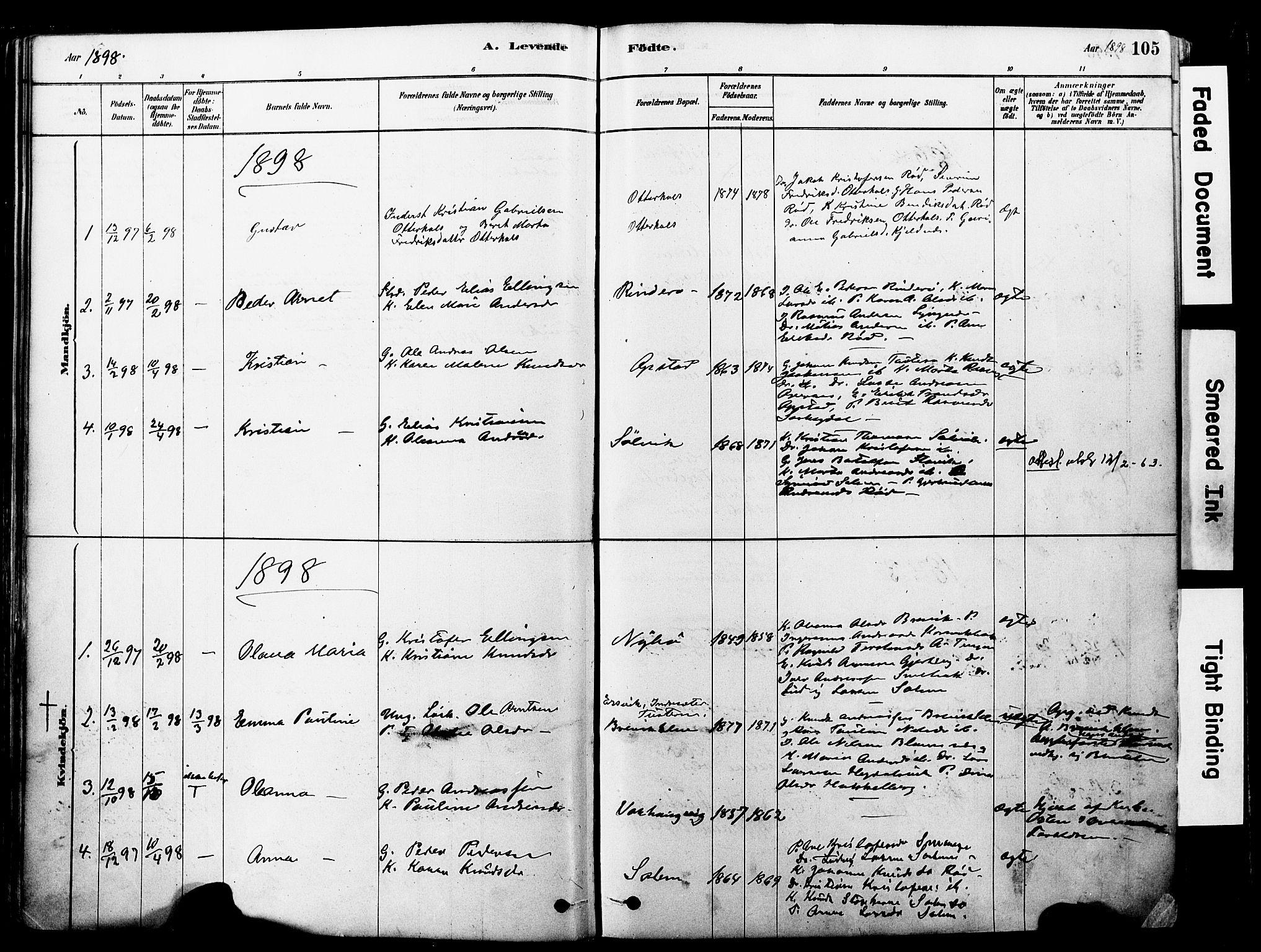 SAT, Ministerialprotokoller, klokkerbøker og fødselsregistre - Møre og Romsdal, 560/L0721: Ministerialbok nr. 560A05, 1878-1917, s. 105