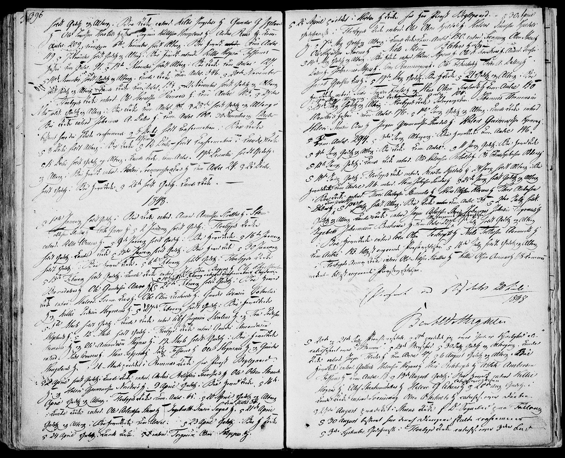 SAKO, Bø kirkebøker, F/Fa/L0007: Ministerialbok nr. 7, 1831-1848, s. 396