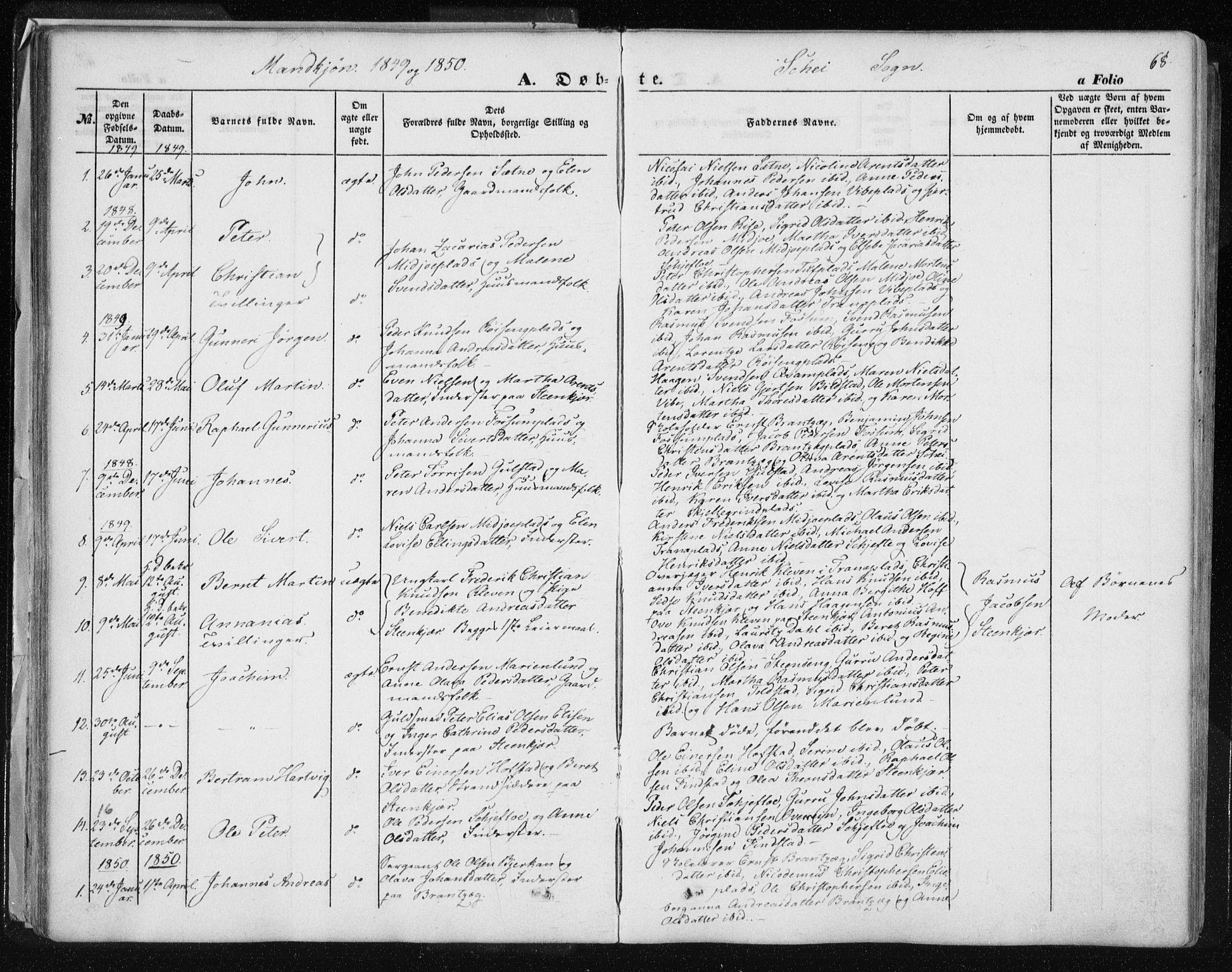 SAT, Ministerialprotokoller, klokkerbøker og fødselsregistre - Nord-Trøndelag, 735/L0342: Ministerialbok nr. 735A07 /2, 1849-1862, s. 68