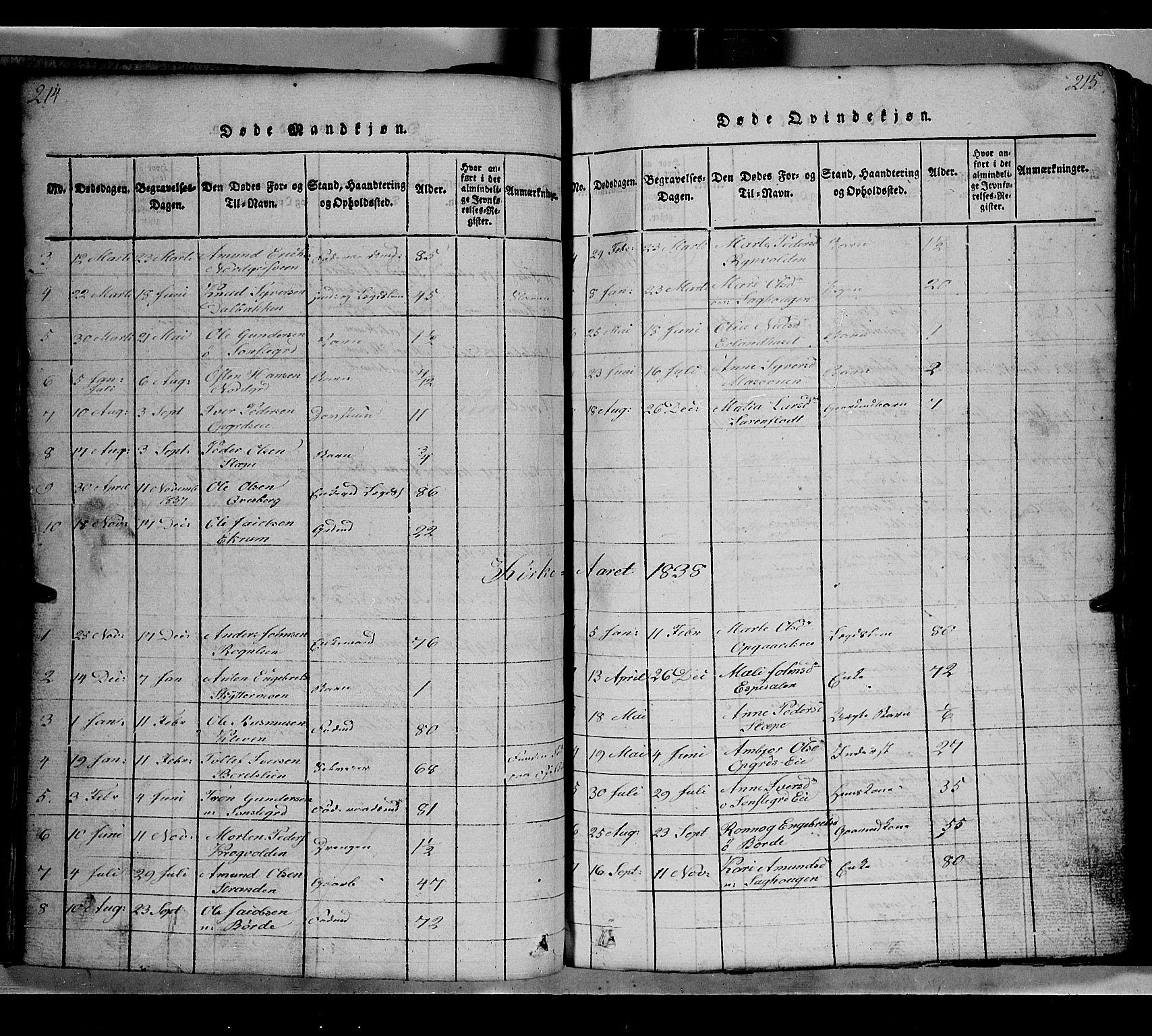 SAH, Gausdal prestekontor, Klokkerbok nr. 2, 1818-1874, s. 214-215