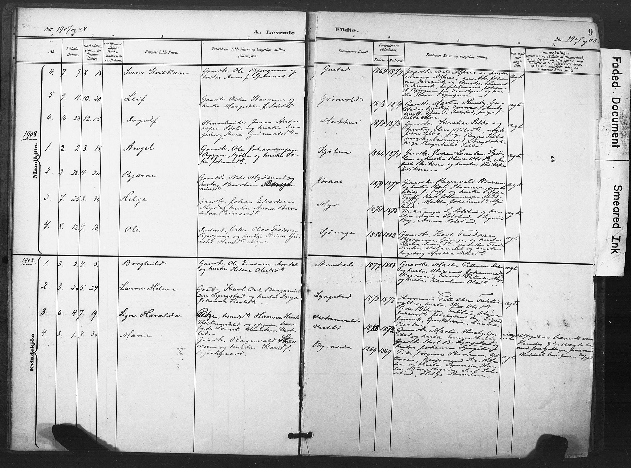 SAT, Ministerialprotokoller, klokkerbøker og fødselsregistre - Nord-Trøndelag, 719/L0179: Ministerialbok nr. 719A02, 1901-1923, s. 9
