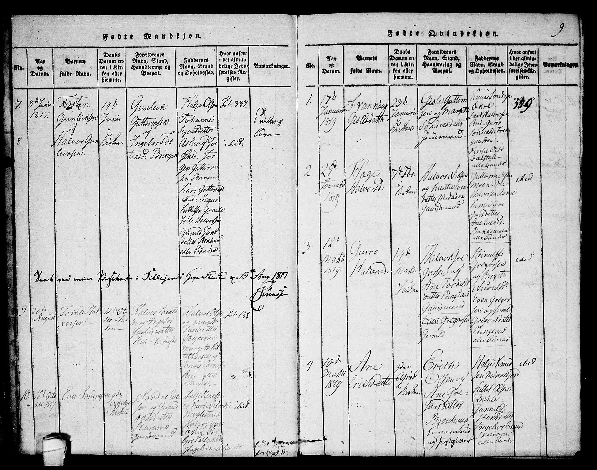 SAKO, Seljord kirkebøker, F/Fb/L0001: Ministerialbok nr. II 1, 1815-1831, s. 9
