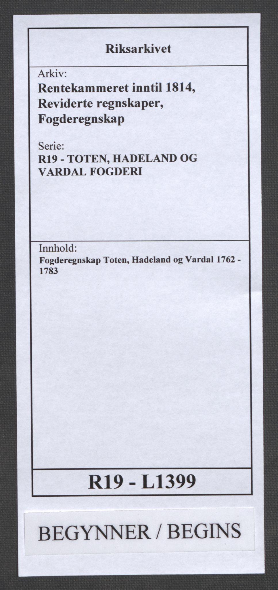 RA, Rentekammeret inntil 1814, Reviderte regnskaper, Fogderegnskap, R19/L1399: Fogderegnskap Toten, Hadeland og Vardal, 1762-1783, s. 1