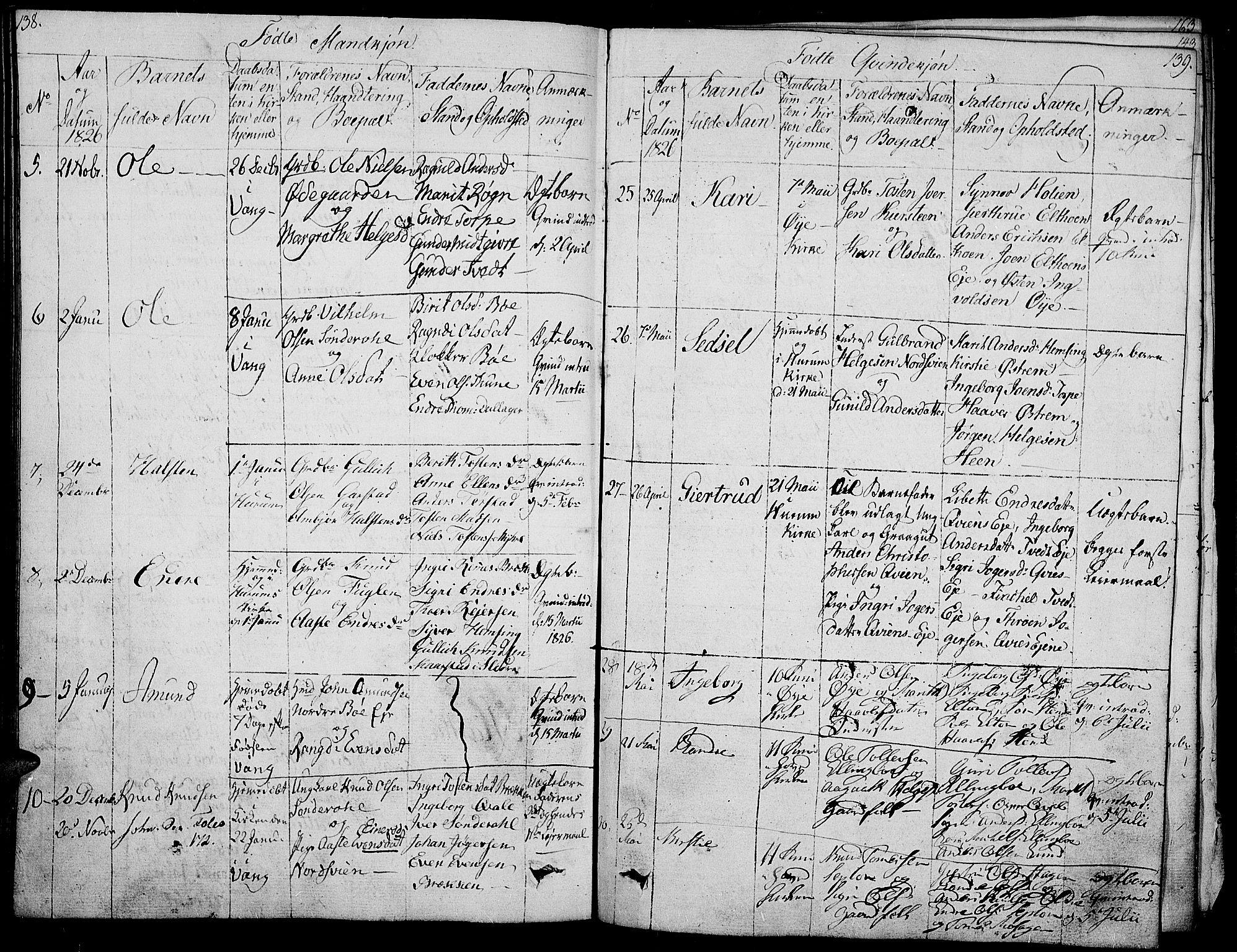 SAH, Vang prestekontor, Valdres, Ministerialbok nr. 3, 1809-1831, s. 138-139
