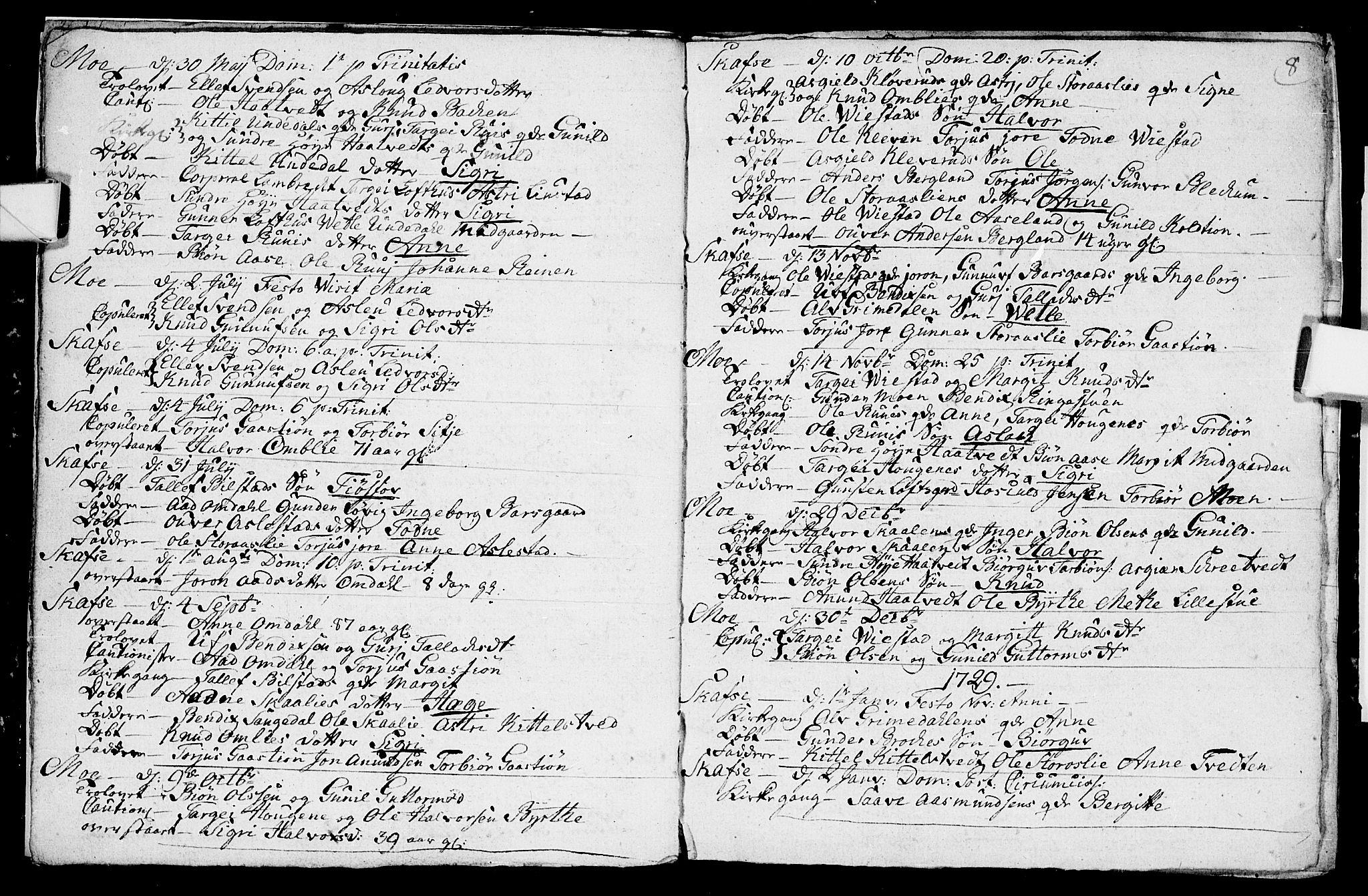 SAKO, Mo kirkebøker, F/Fa/L0001: Ministerialbok nr. I 1, 1724-1748, s. 8