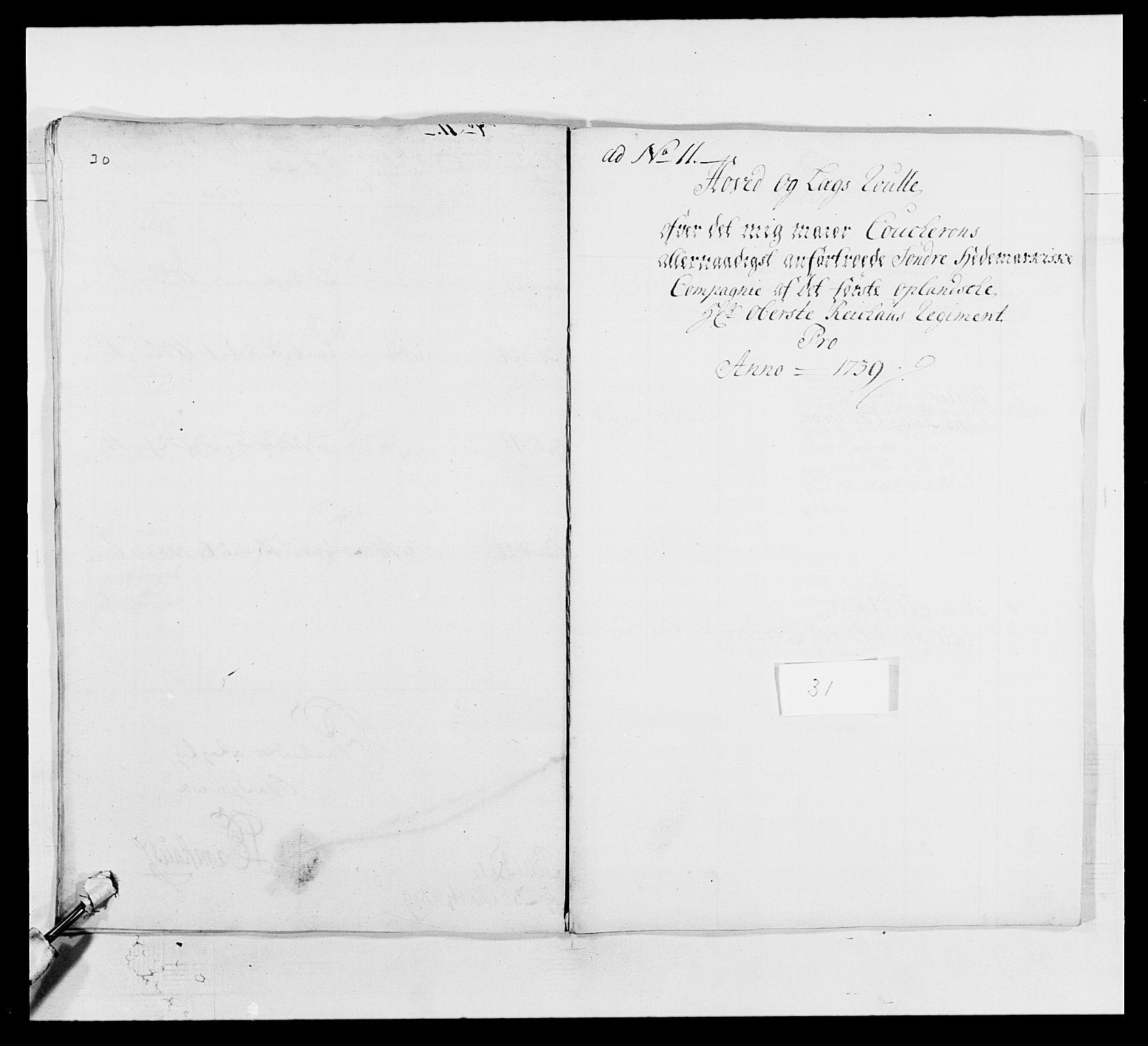 RA, Kommanderende general (KG I) med Det norske krigsdirektorium, E/Ea/L0502: 1. Opplandske regiment, 1720-1743, s. 393