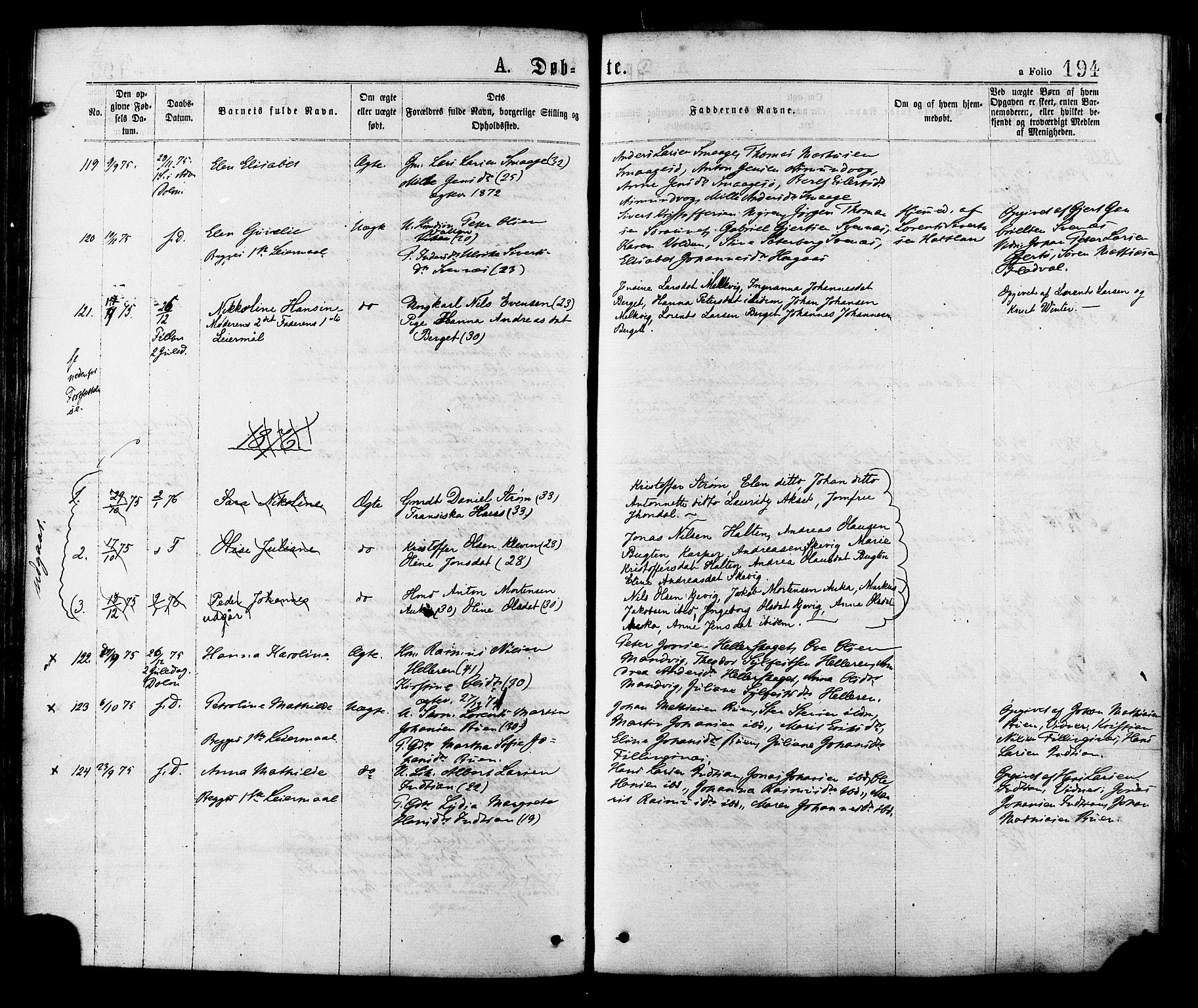 SAT, Ministerialprotokoller, klokkerbøker og fødselsregistre - Sør-Trøndelag, 634/L0532: Ministerialbok nr. 634A08, 1871-1881, s. 194