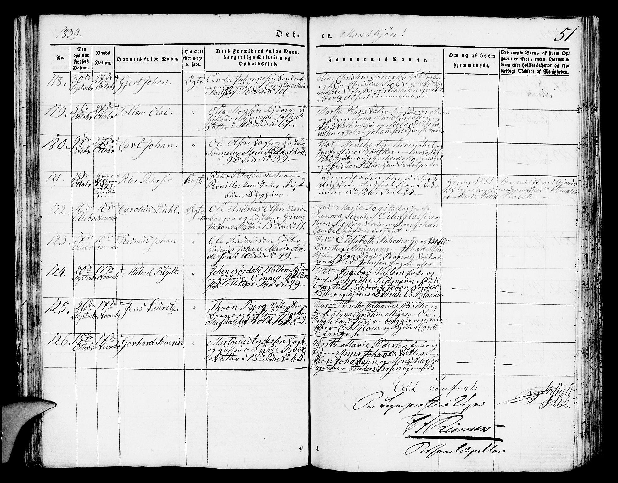 SAB, Domkirken sokneprestembete, H/Hab/L0008: Klokkerbok nr. B 1, 1836-1841, s. 51