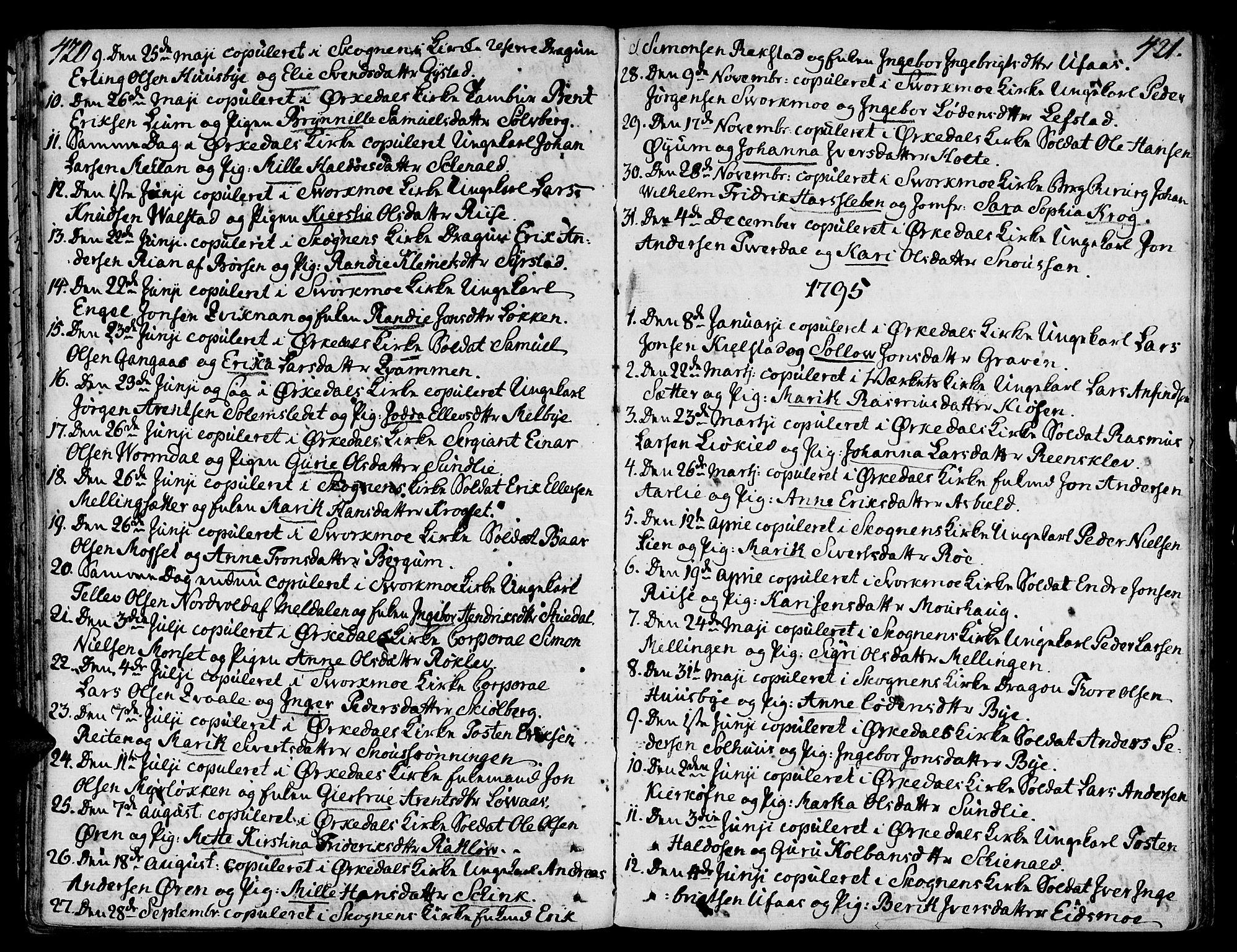 SAT, Ministerialprotokoller, klokkerbøker og fødselsregistre - Sør-Trøndelag, 668/L0802: Ministerialbok nr. 668A02, 1776-1799, s. 420-421