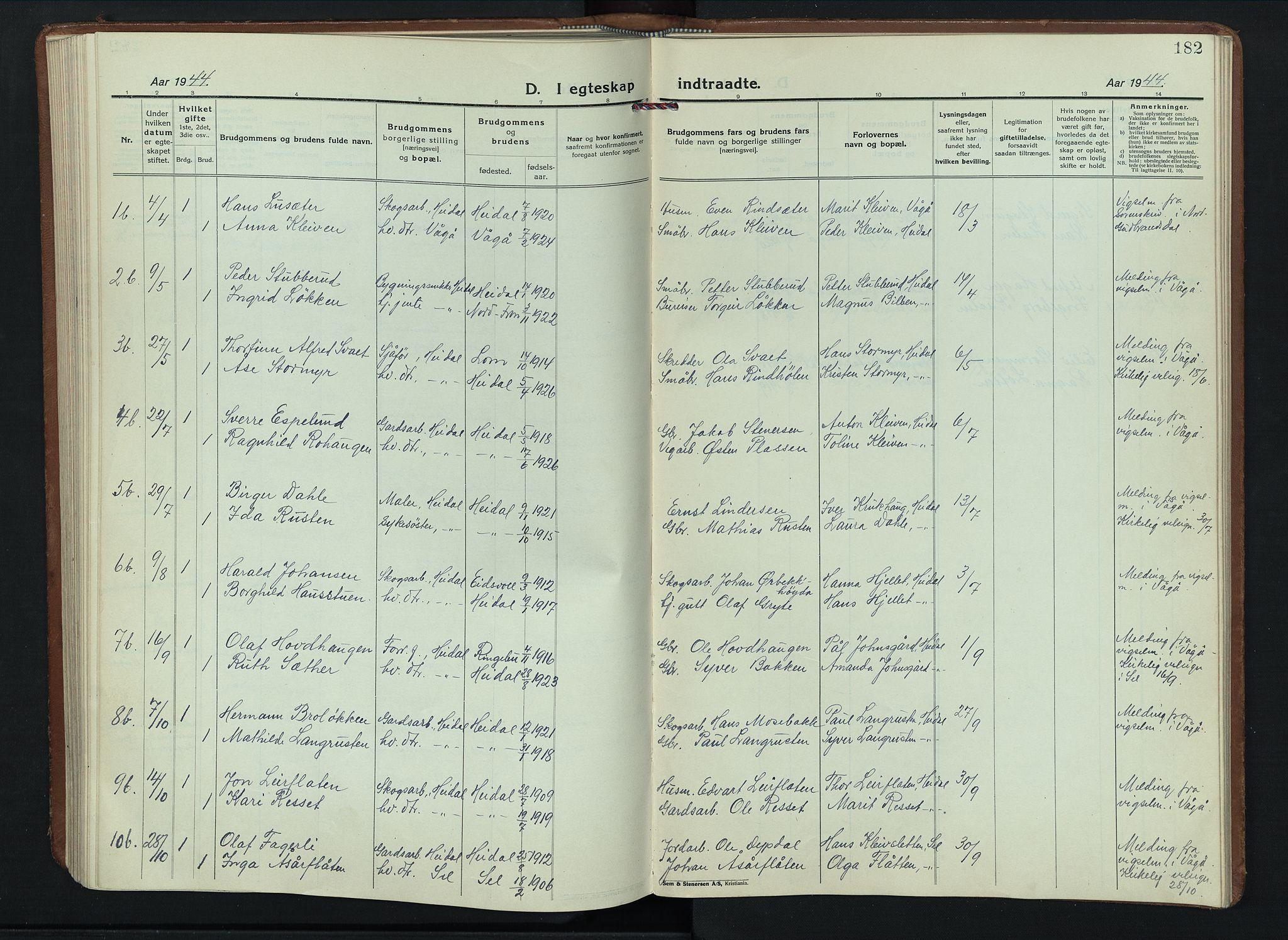 SAH, Sel prestekontor, Klokkerbok nr. 6, 1923-1953, s. 182