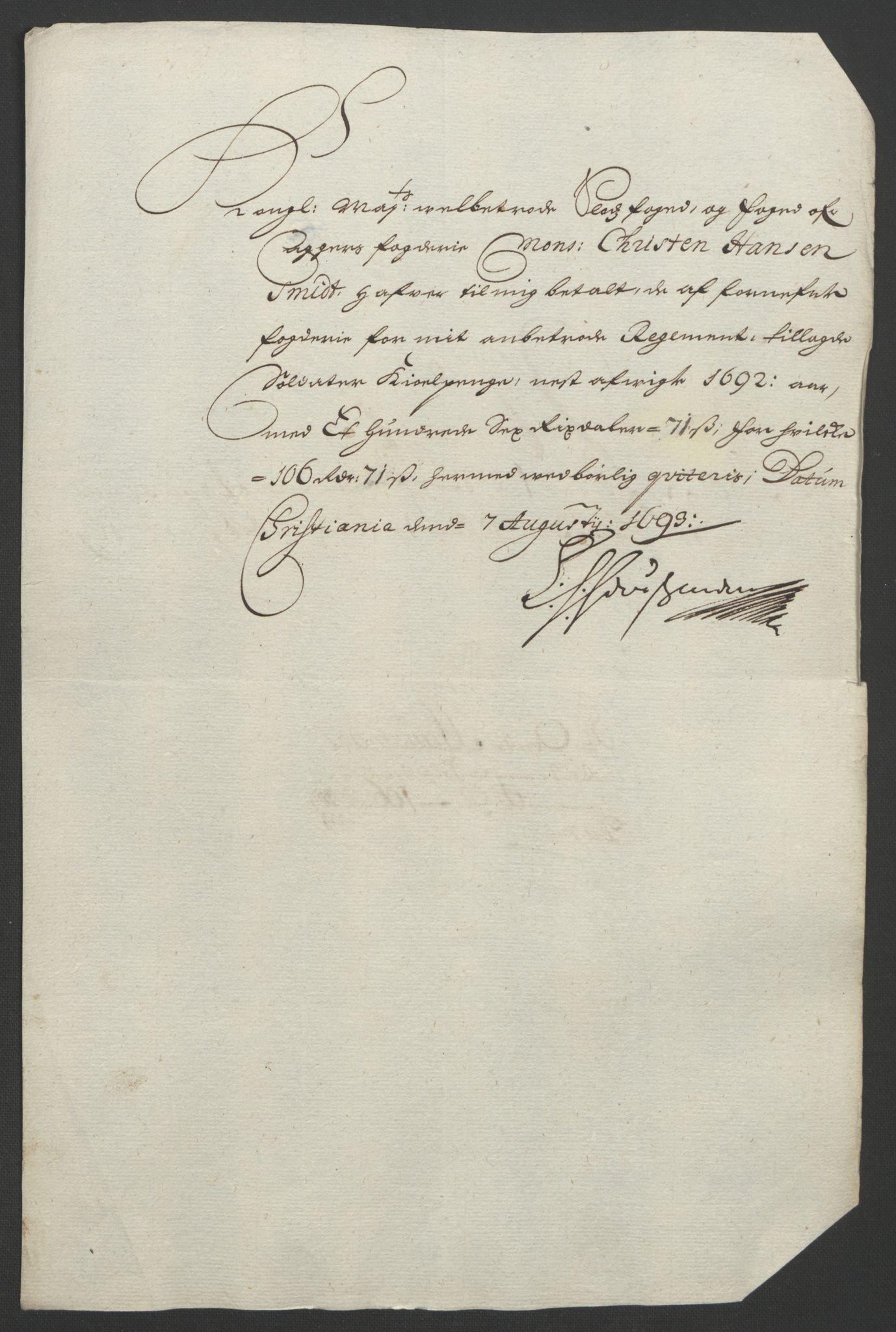 RA, Rentekammeret inntil 1814, Reviderte regnskaper, Fogderegnskap, R08/L0426: Fogderegnskap Aker, 1692-1693, s. 148