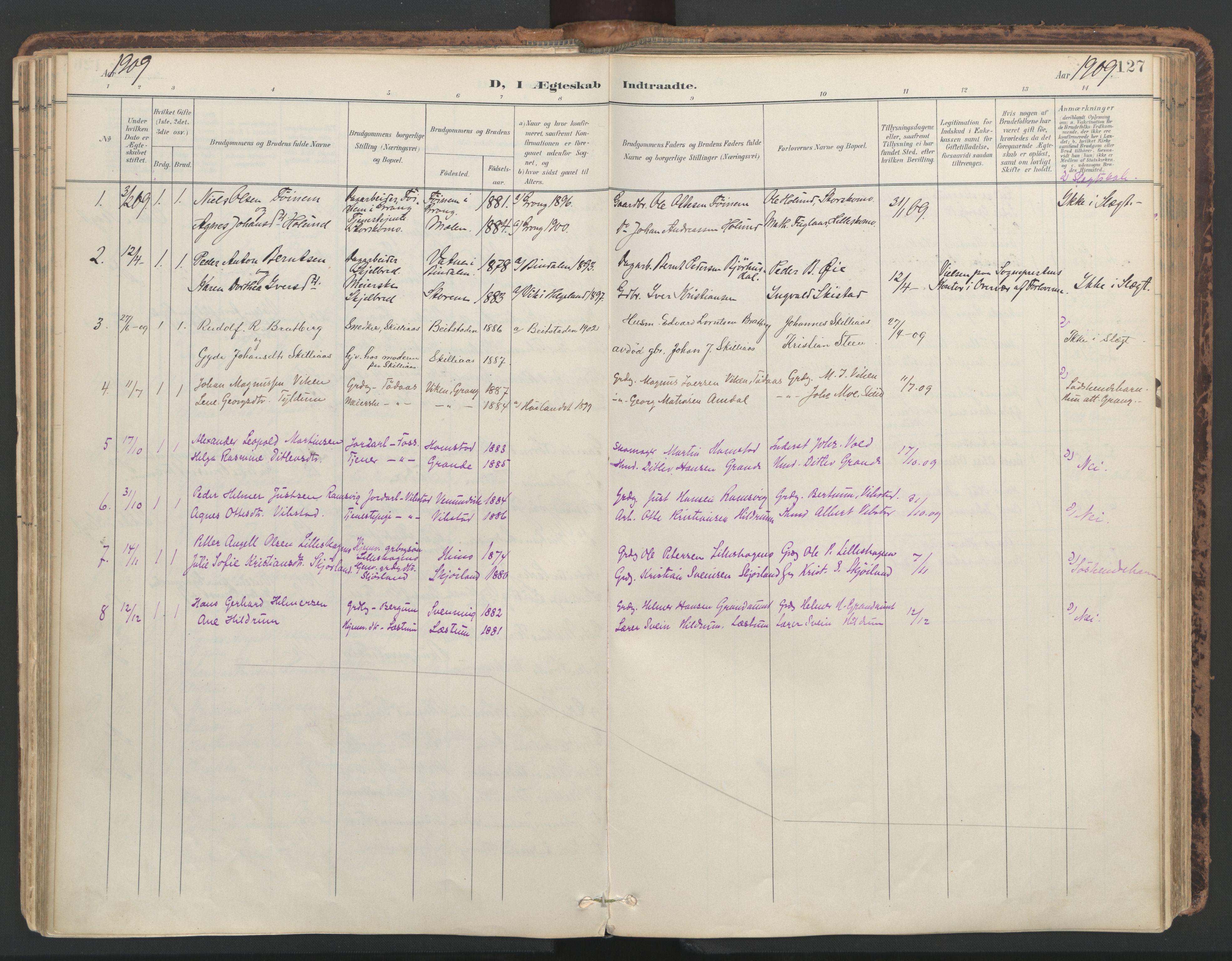 SAT, Ministerialprotokoller, klokkerbøker og fødselsregistre - Nord-Trøndelag, 764/L0556: Ministerialbok nr. 764A11, 1897-1924, s. 127