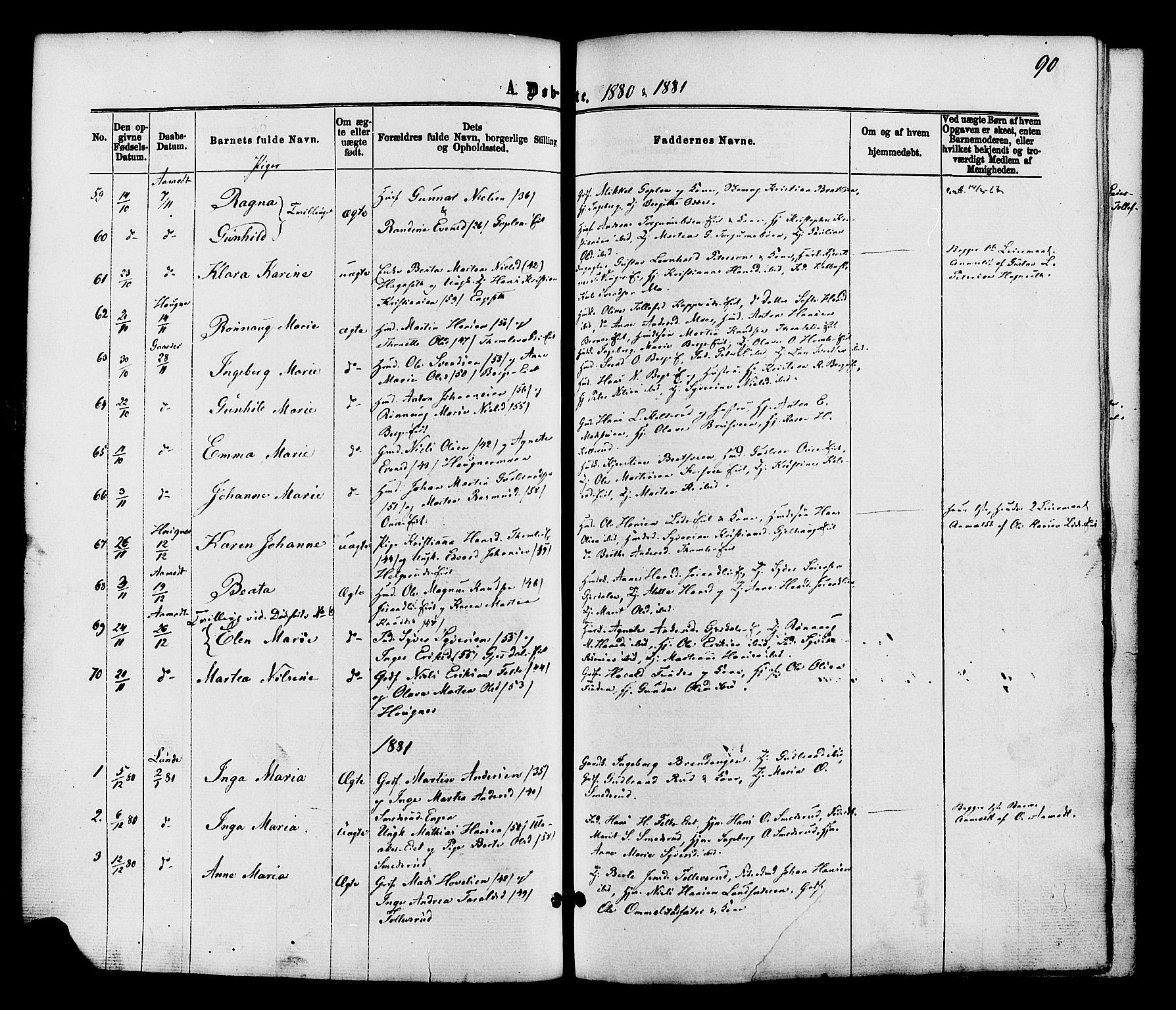 SAH, Nordre Land prestekontor, Ministerialbok nr. 2, 1872-1881, s. 90