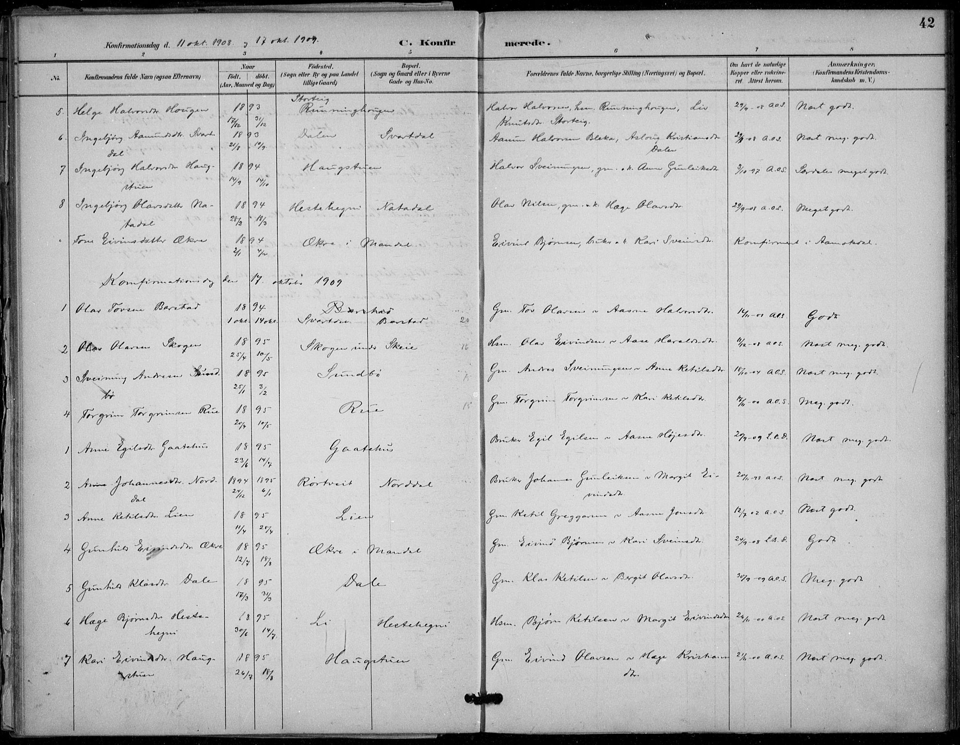 SAKO, Seljord kirkebøker, F/Fb/L0002: Ministerialbok nr. II 2, 1887-1917, s. 42