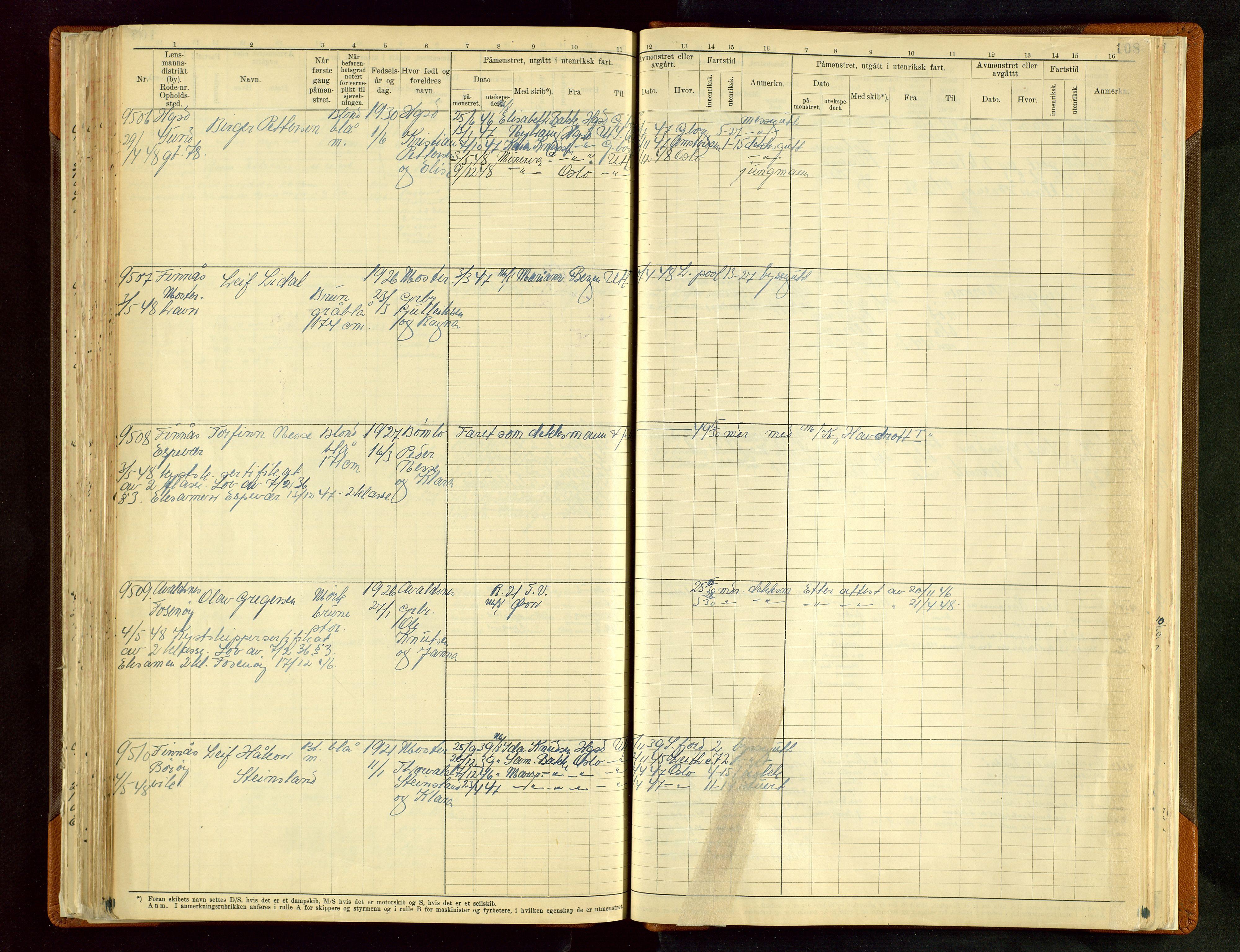 SAST, Haugesund sjømannskontor, F/Fb/Fbb/L0012: Sjøfartsrulle A Haugesund krets 2 nr. 8971-9629, 1868-1948, s. 108