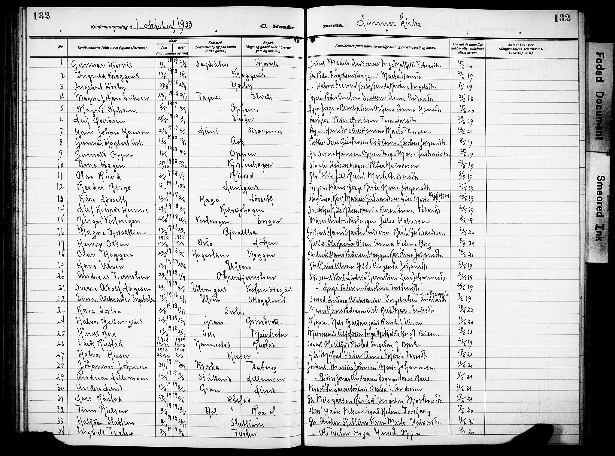 SAH, Lunner prestekontor, H/Ha/Hab/L0002: Klokkerbok nr. 2, 1923-1933, s. 132